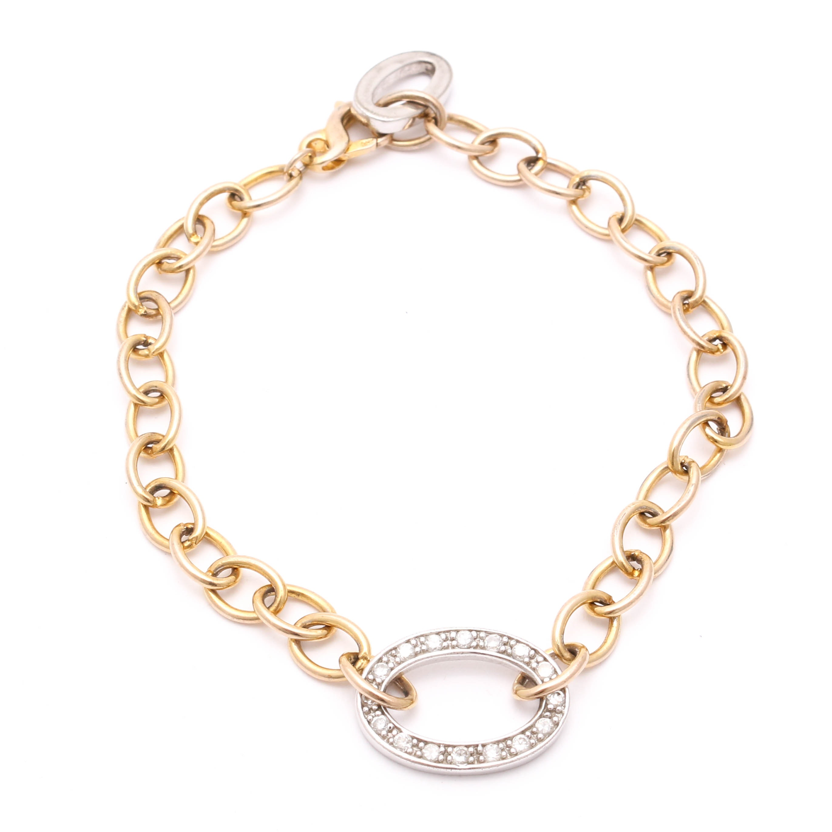 Gold Wash on Sterling Silver Cubic Zirconia Bracelet