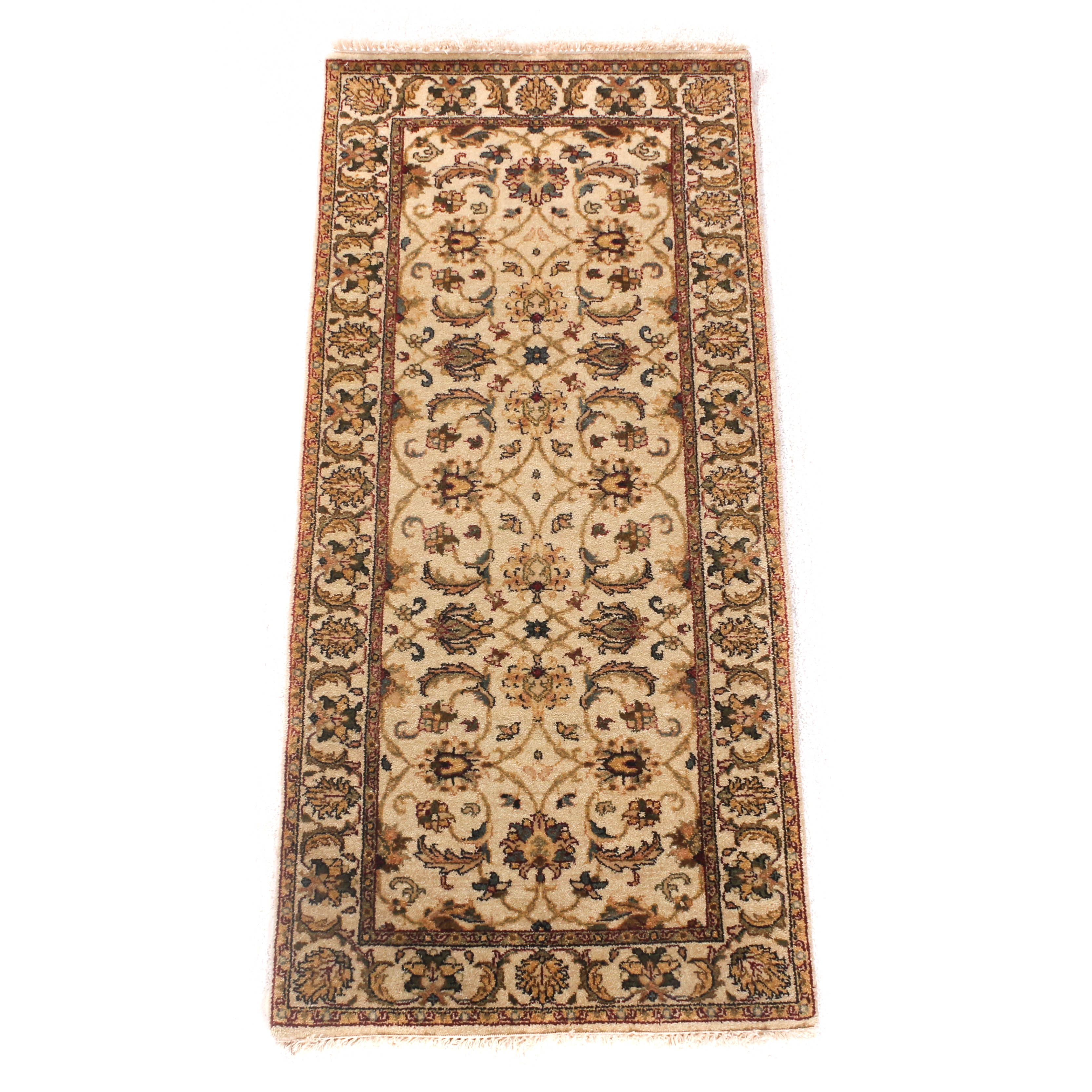 Hand-Knotted Indo-Persian Wool Long Rug