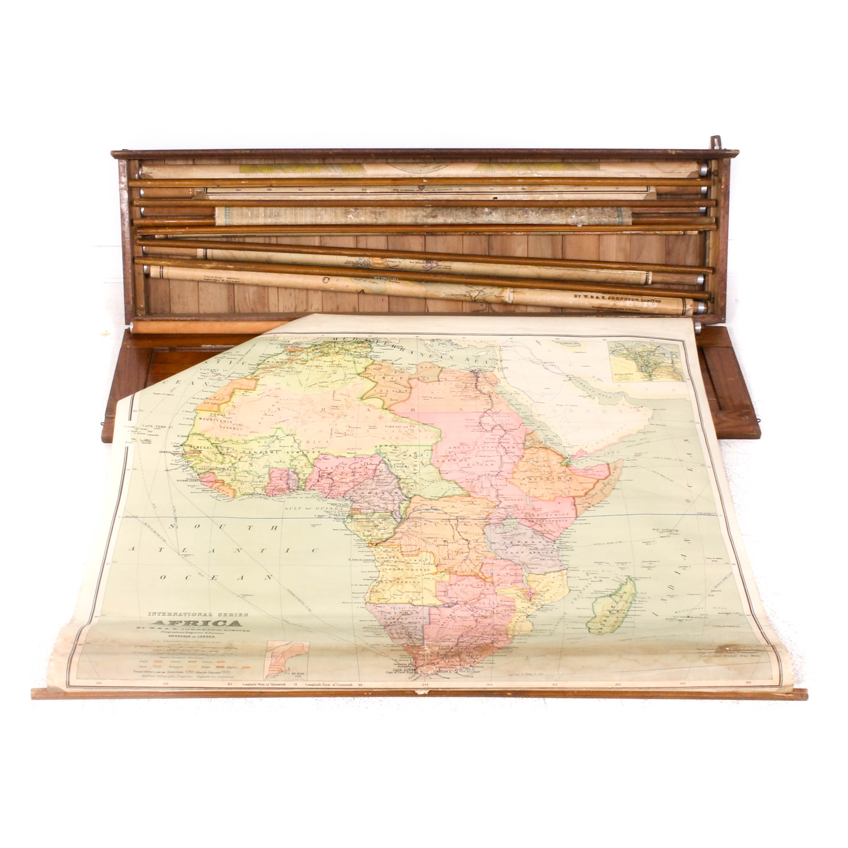 Wood Wall Mount Classroom World Map Case