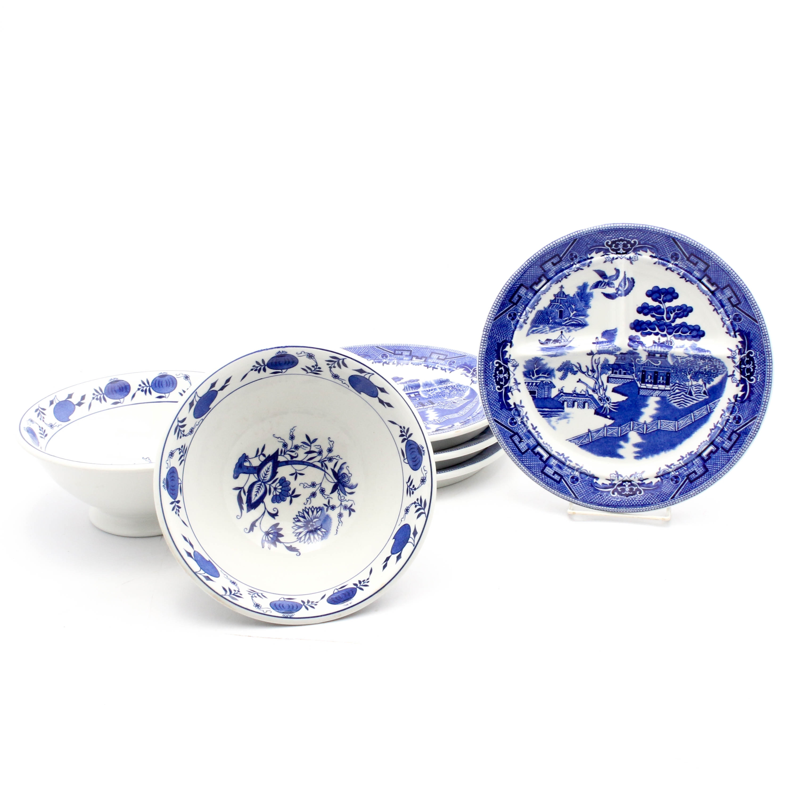 Blue Willow and Blue Onion Transferware, Vintage