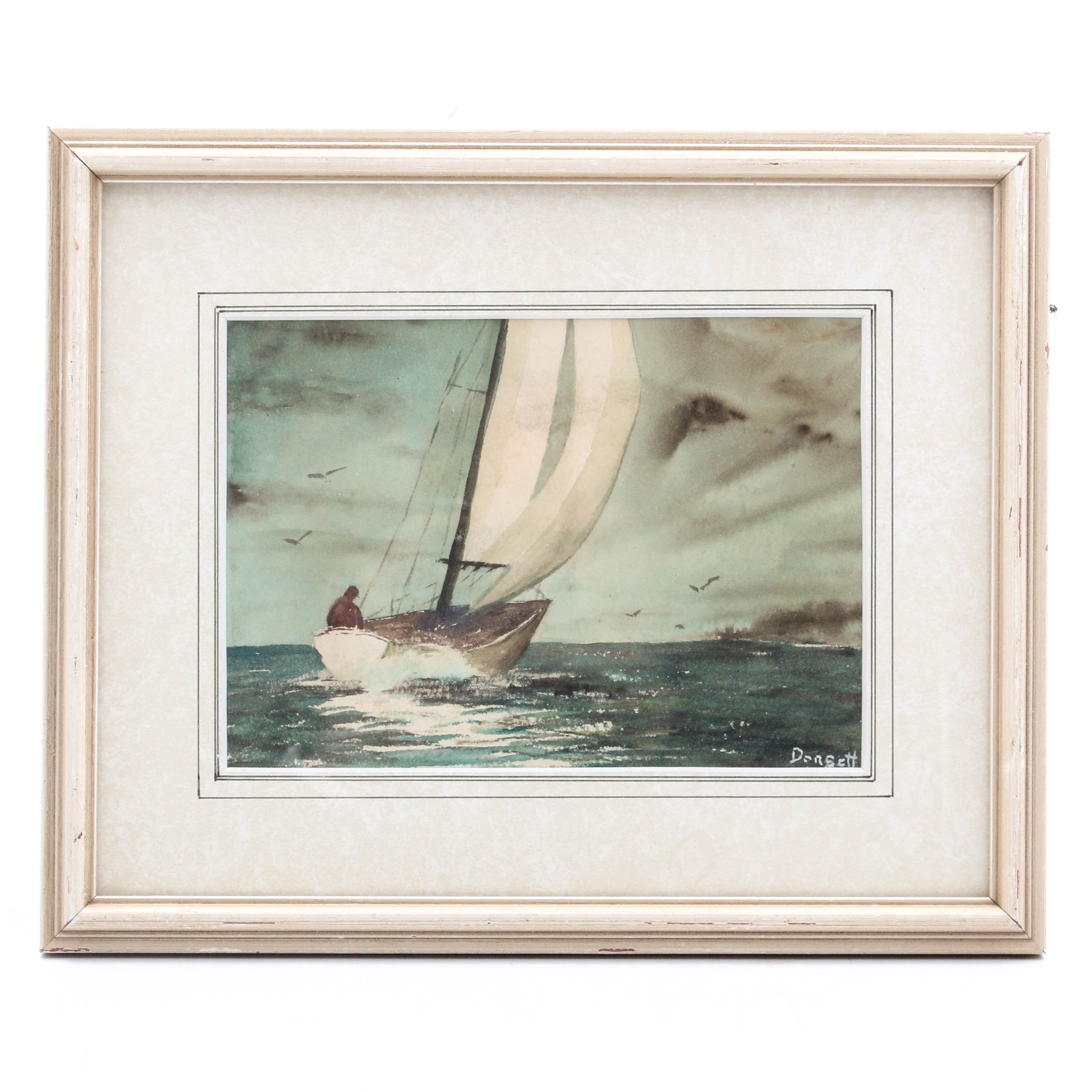 Nautical Watercolor Painting Attributed to Dorsett