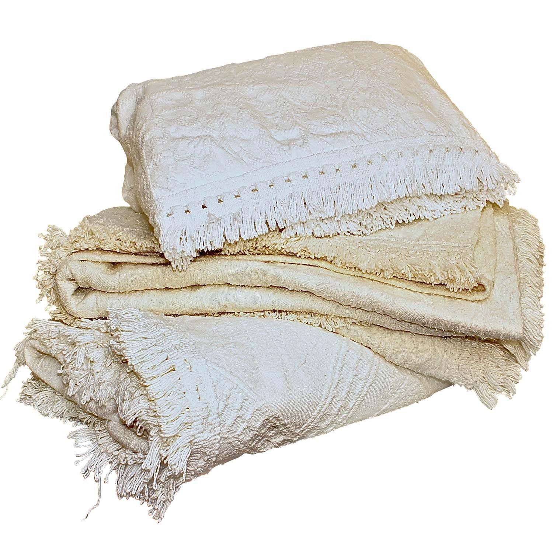 Vintage Cotton Damask Bedding Fringed Coverlets