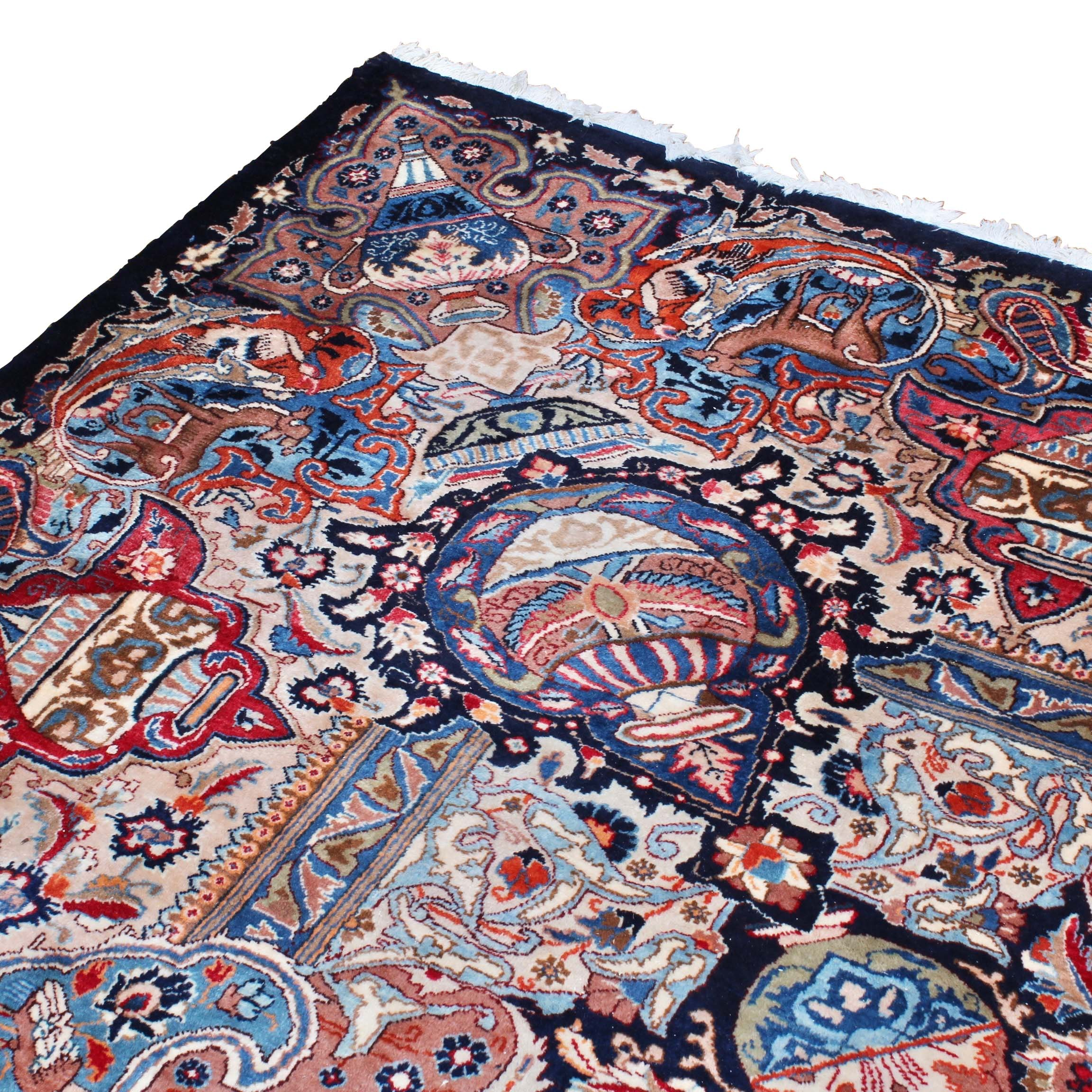"Hand-Knotted Persian Kashmar Wool Room Sized ""Vase"" Rug"