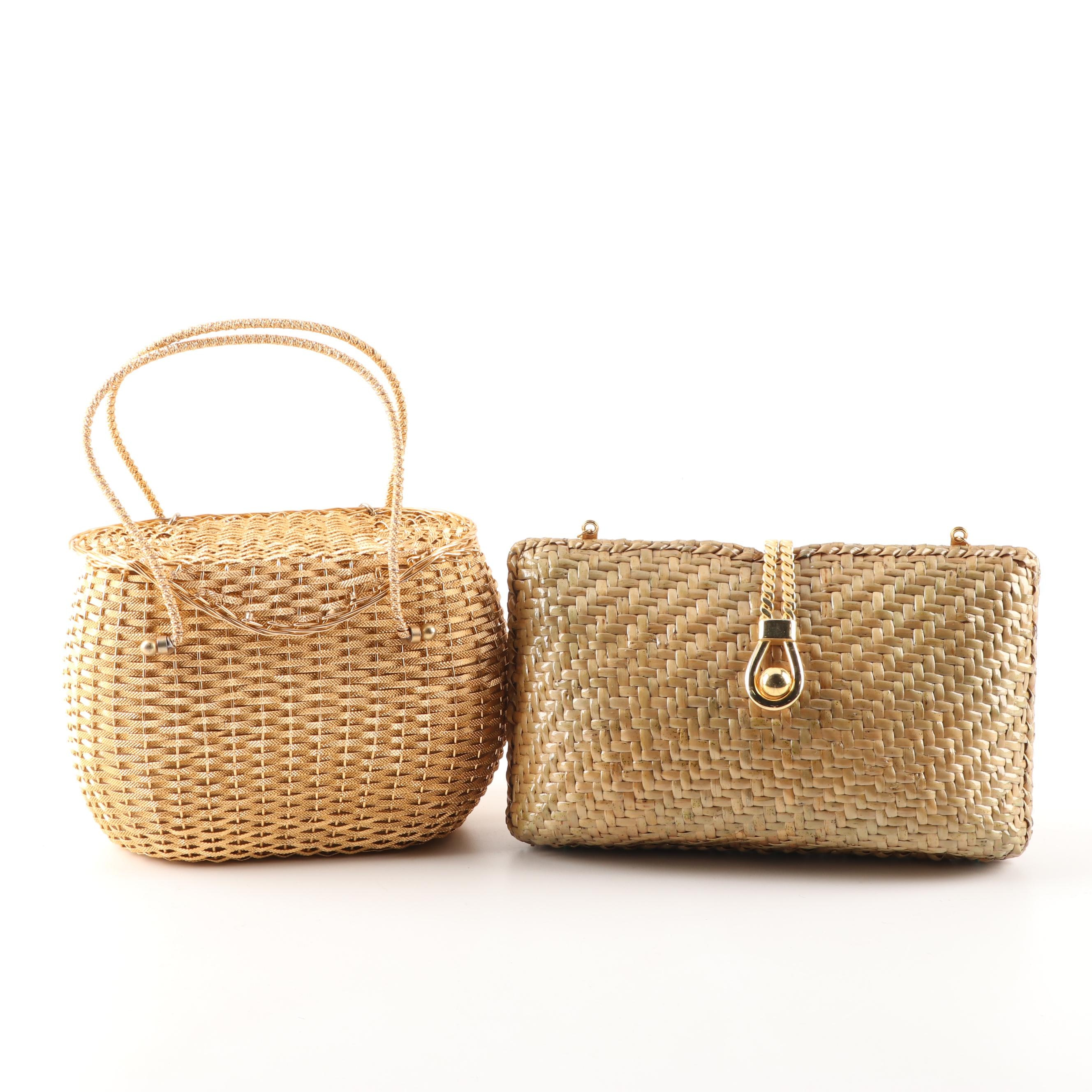 Walborg Woven Clutch and Koret Box Purse, 1960s Vintage