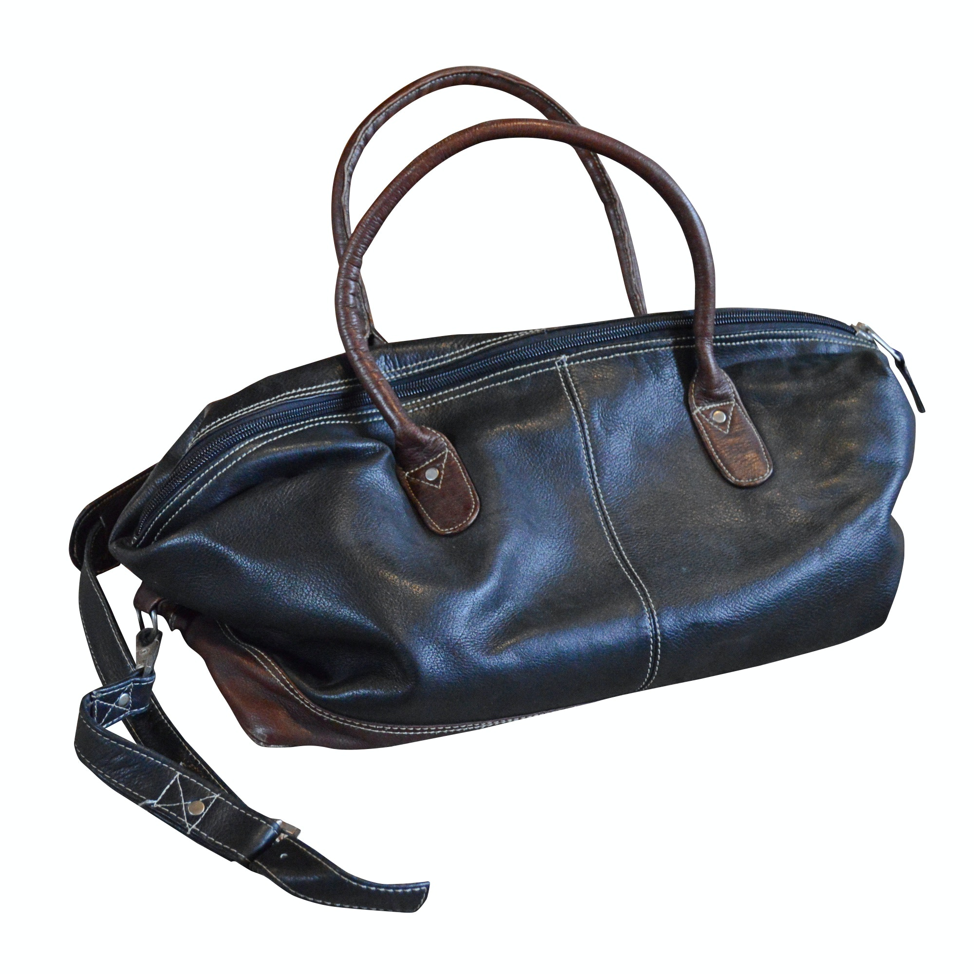Two-Tone Leather Weekender Bag, Made in Columbia