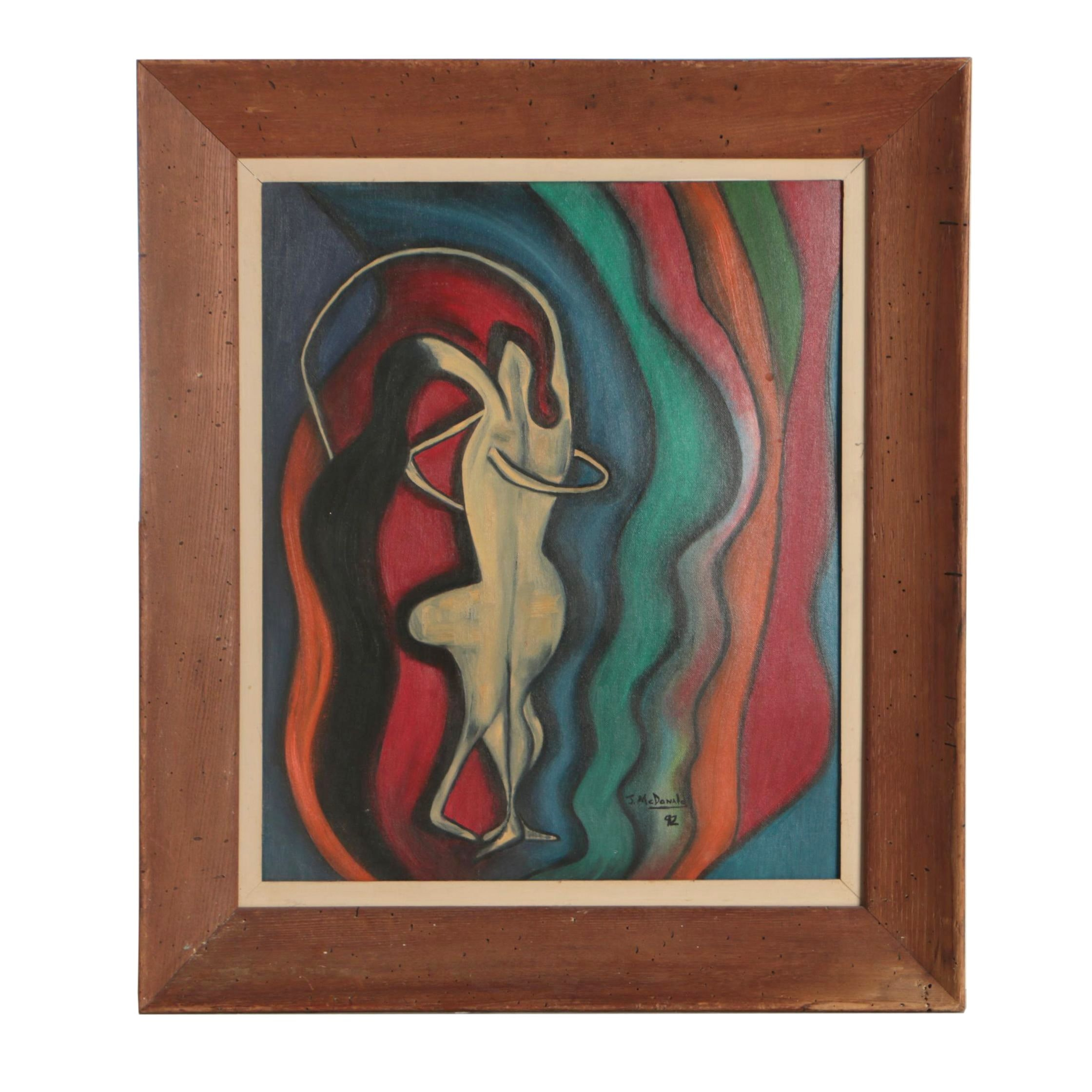 J. McDonald Abstract Figural Oil Painting, 1992