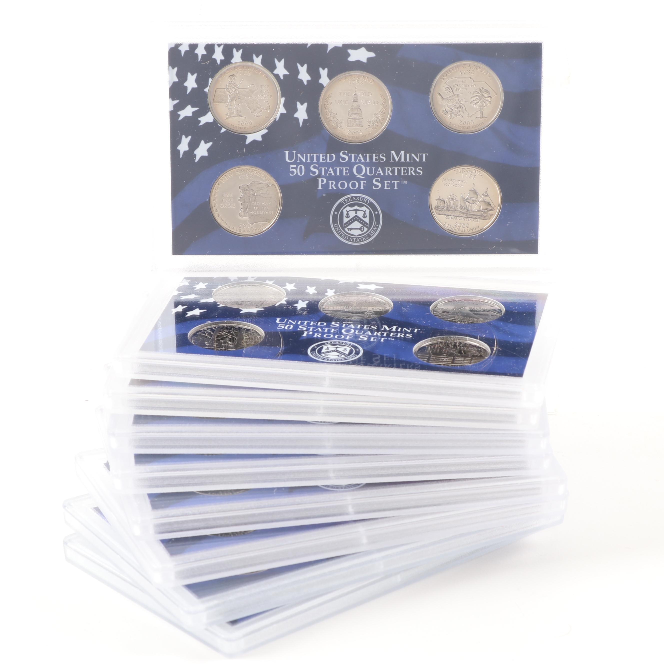 Group of Nine U.S. Mint State Quarters Proof Sets