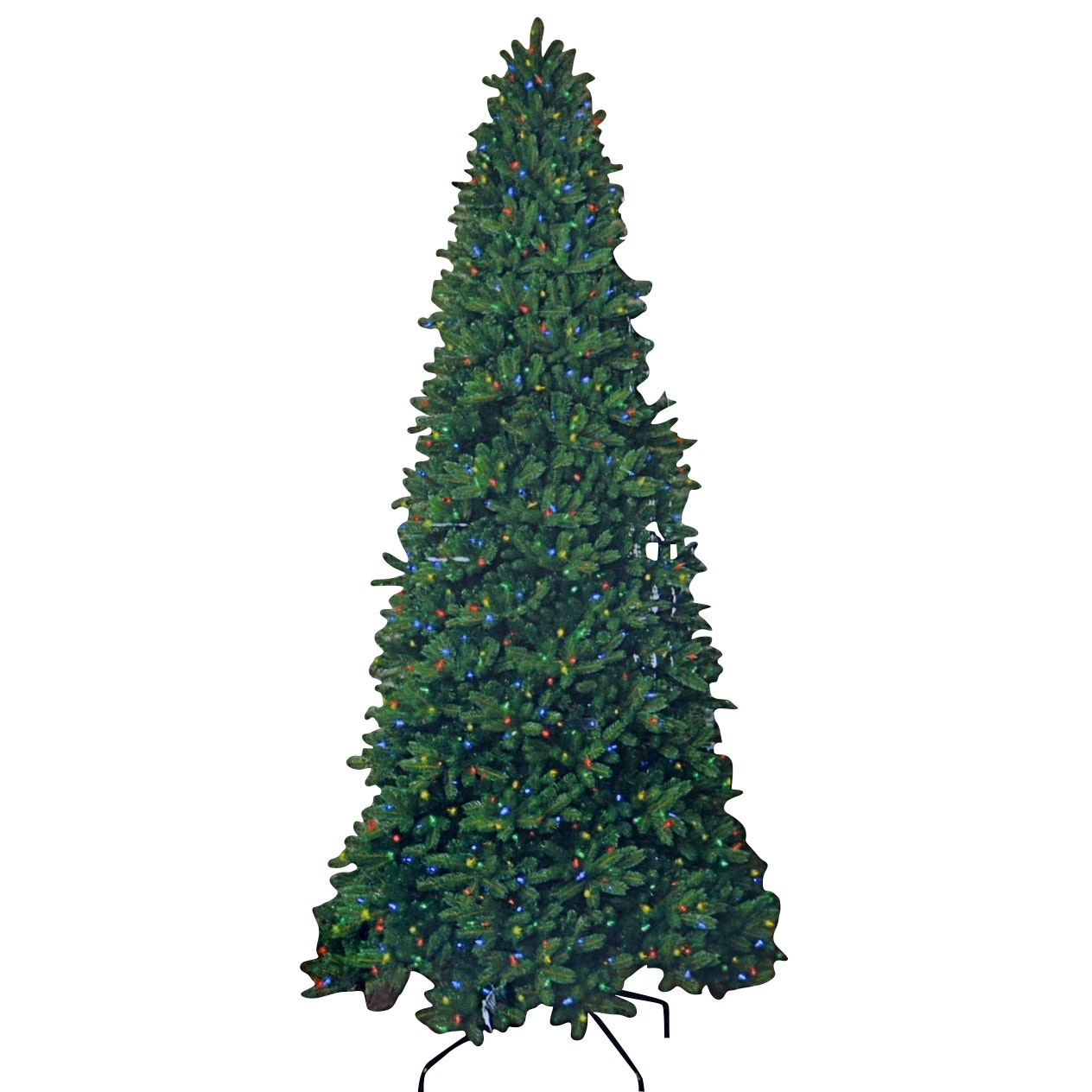12' Faux Evergreen Christmas Tree with 1200 Color Choice LED Lights and Remote