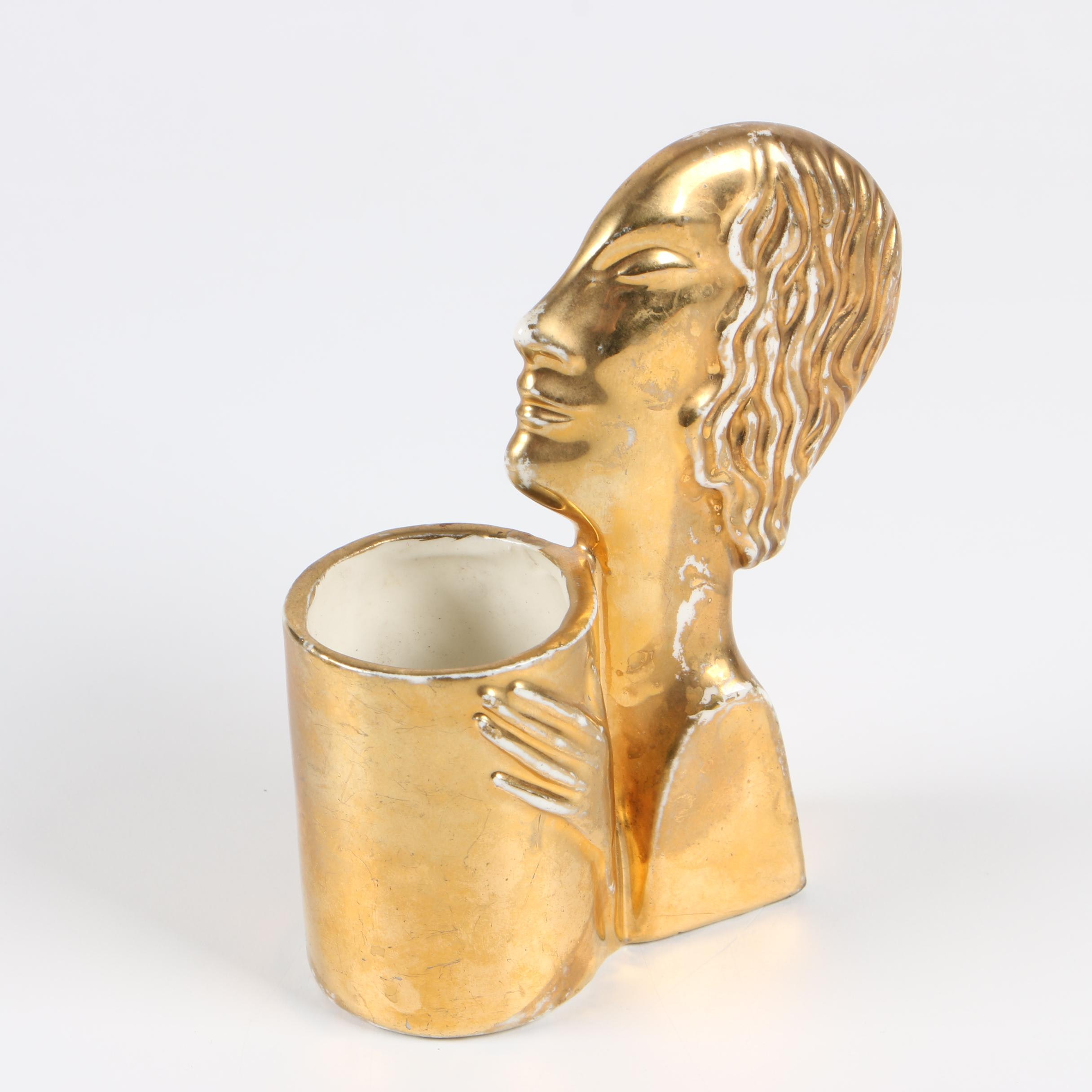 Czechoslovakian Art Deco Ceramic Gold Lustre Glazed Vase, Early 20th Century
