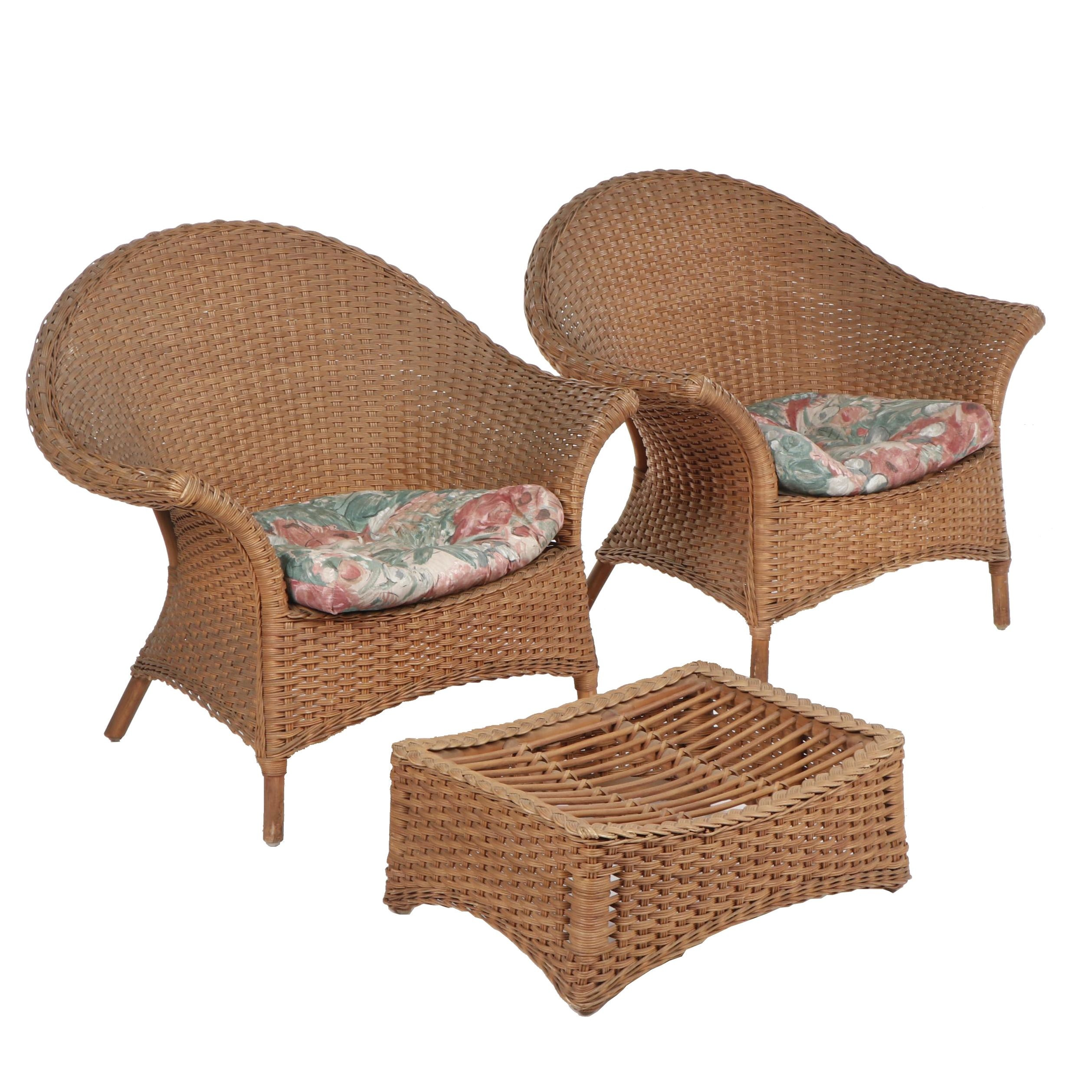 Pair of Woven Wicker Patio Chairs with Ottoman, Late 20th Century