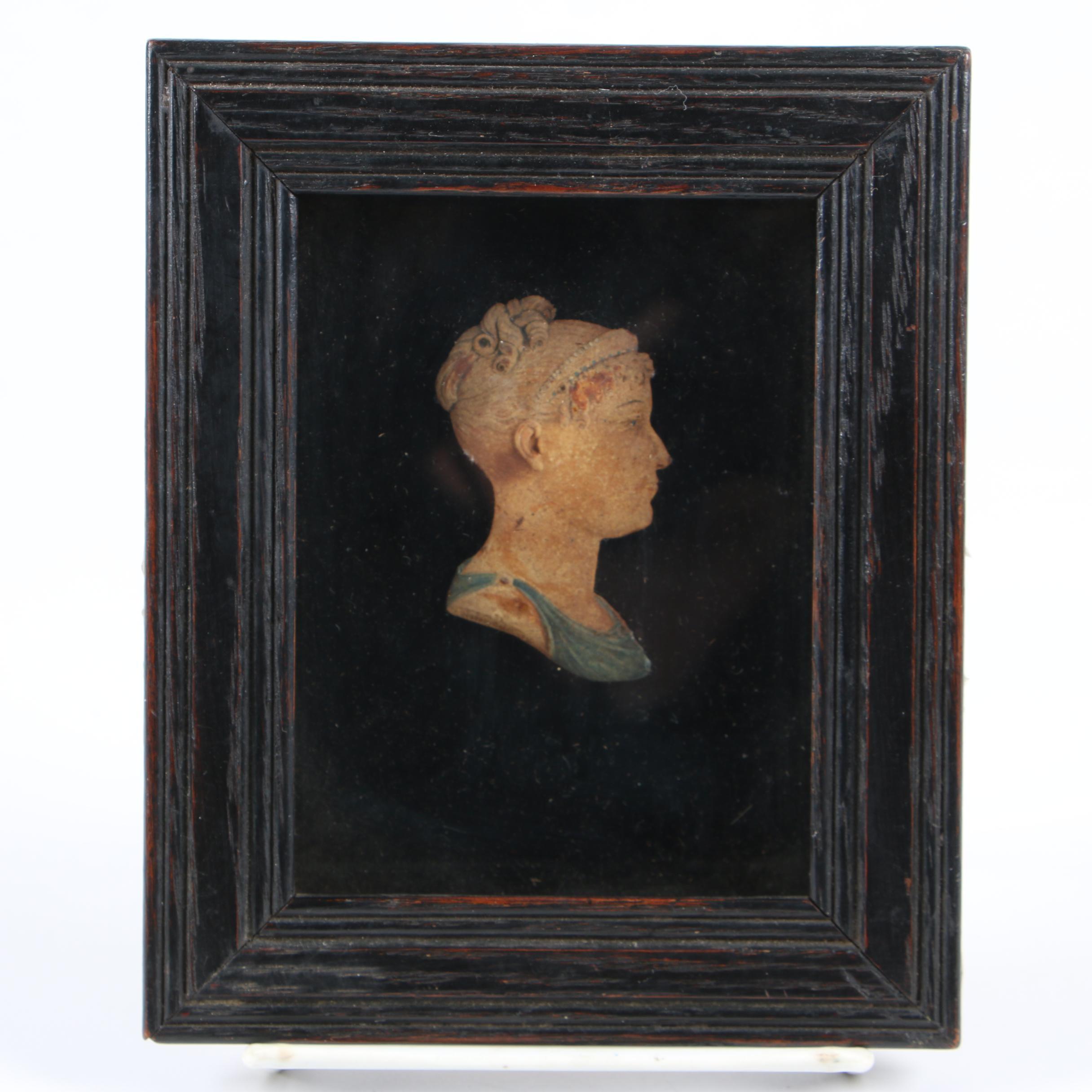 Wax Polychrome Profile Miniature of Empress Marie Louise