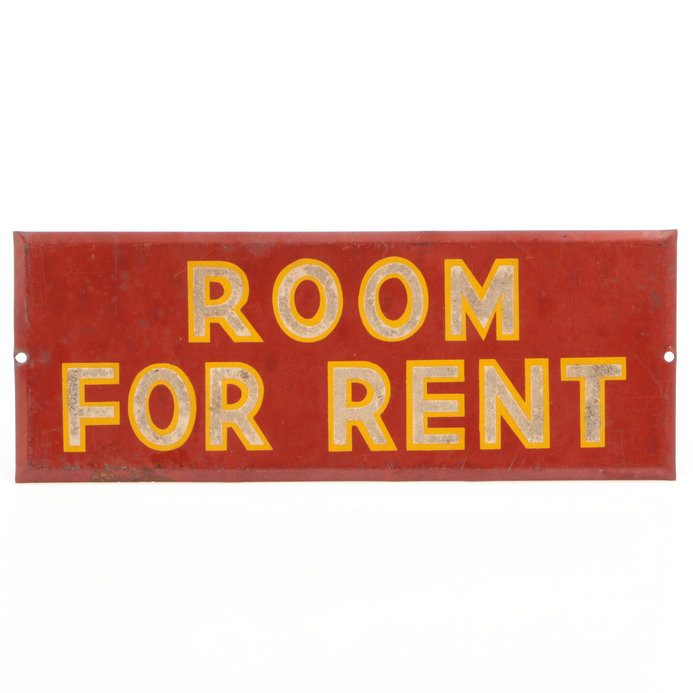 "Enamel Tin ""Room for Rent"" Sign"