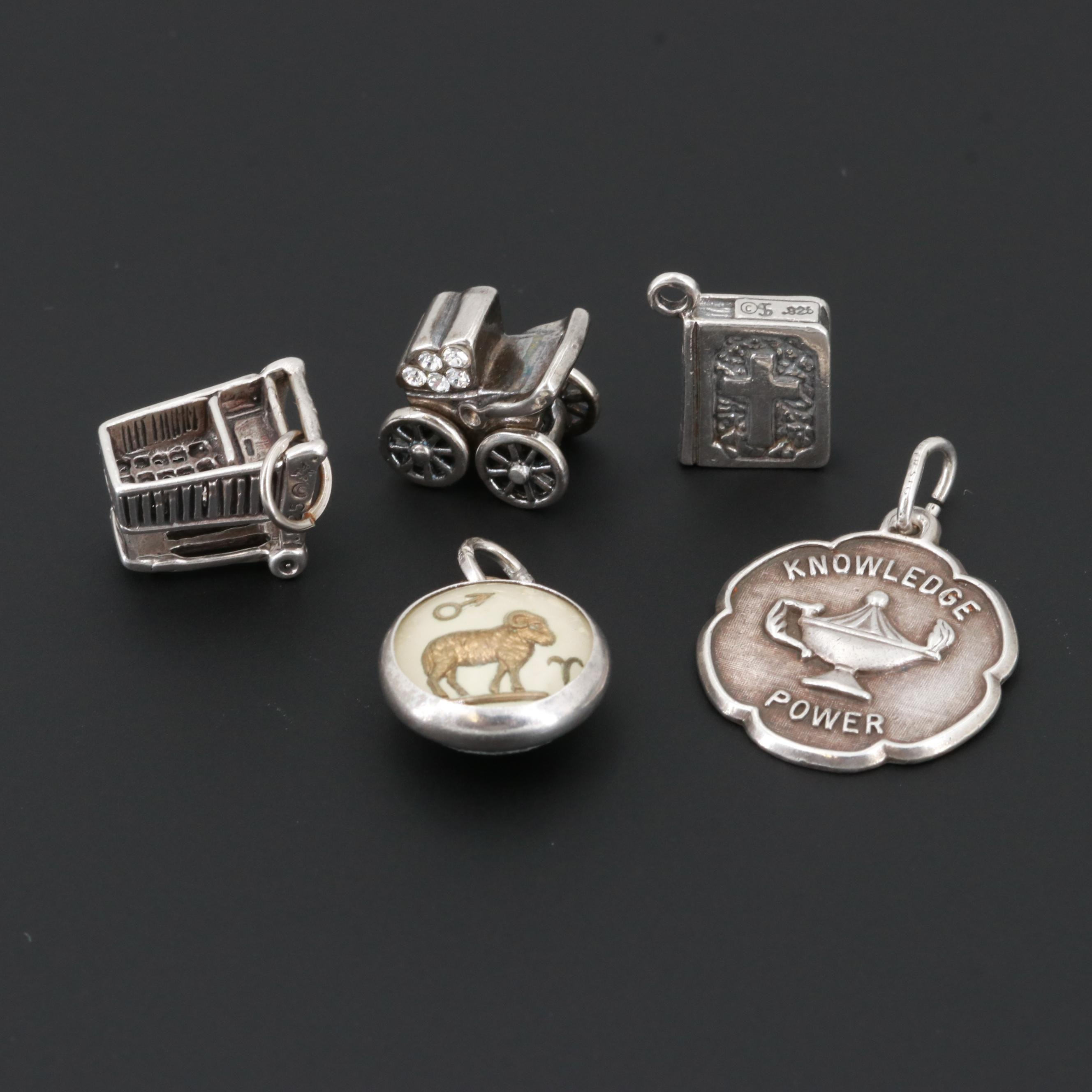 Sterling Silver Glass and Resin Charms Including Beau Sterling