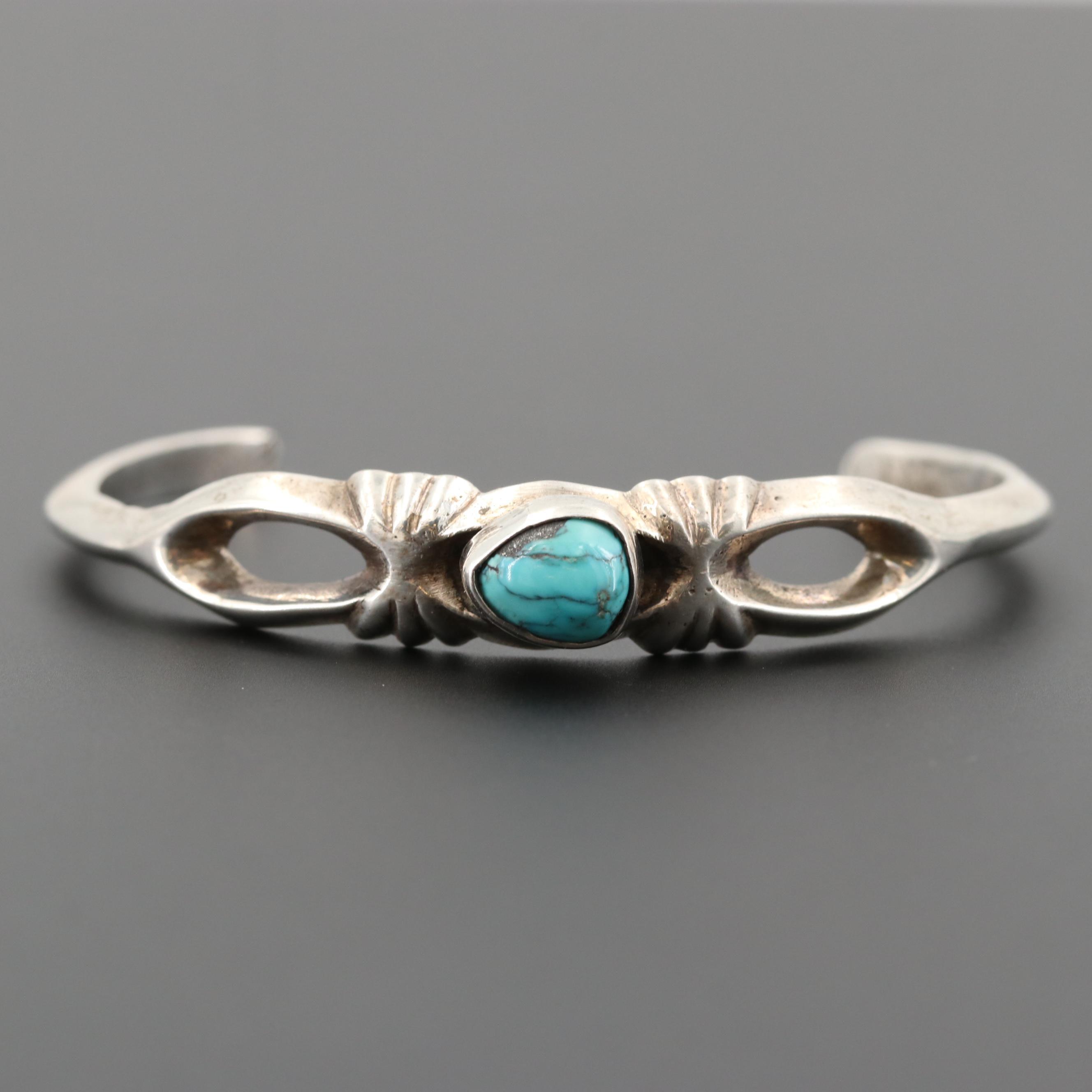 Southwestern Style 800 Silver Turquoise Cuff Bracelet
