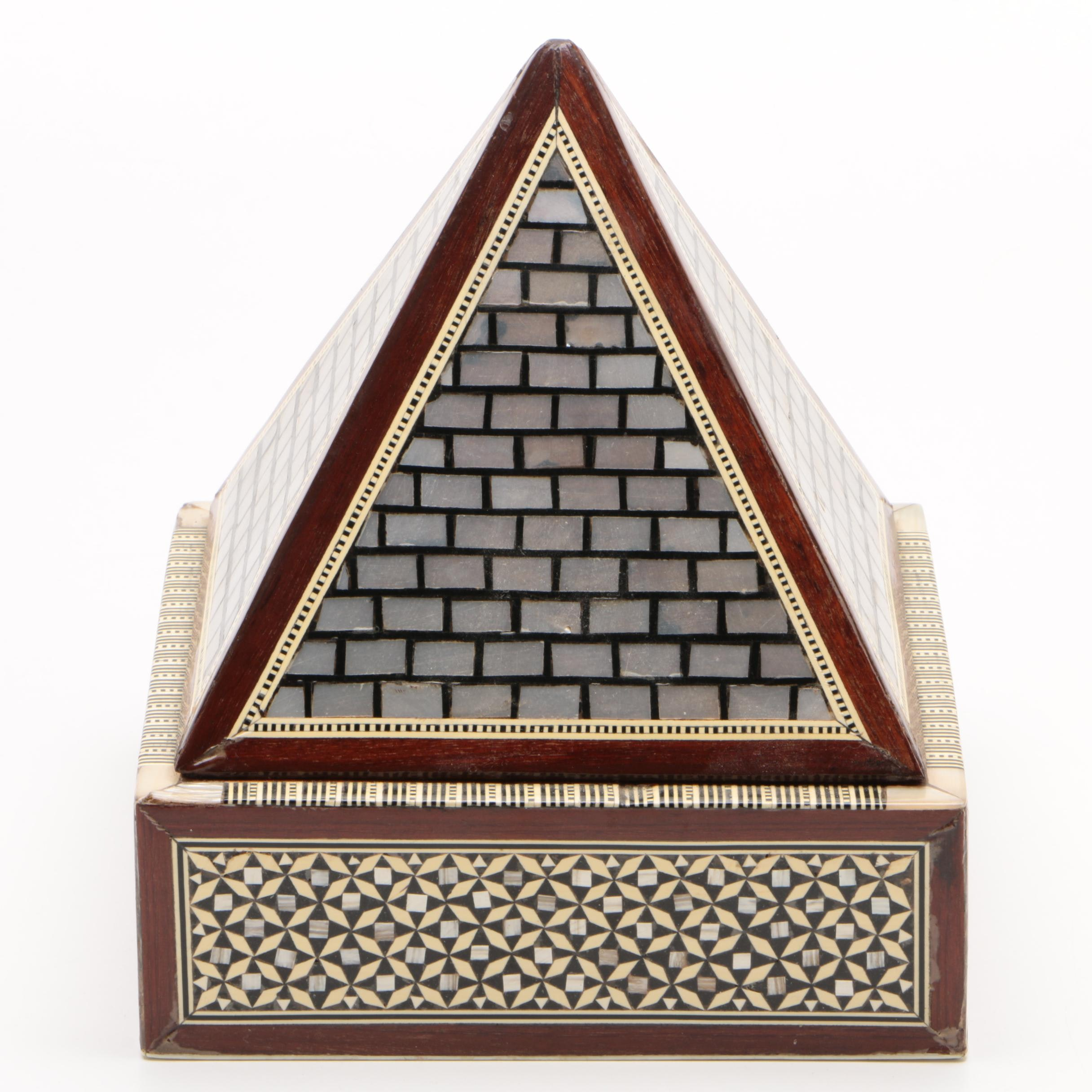 Egyptian Revival Style Metal and Faux Bone Inlaid Wooden Pyramid Jewelry Box