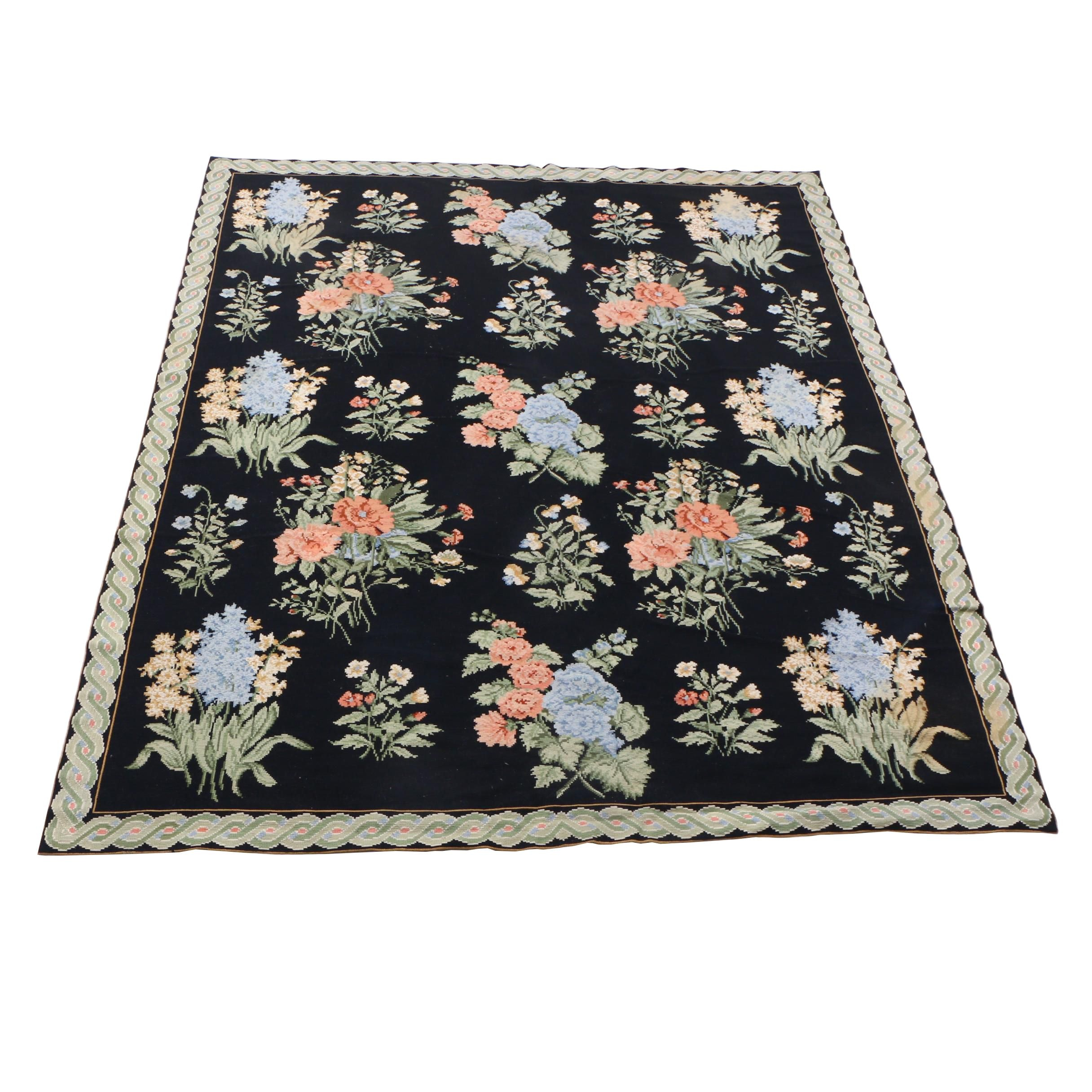 Power Loomed Needlepoint Style Floral Wool Rug