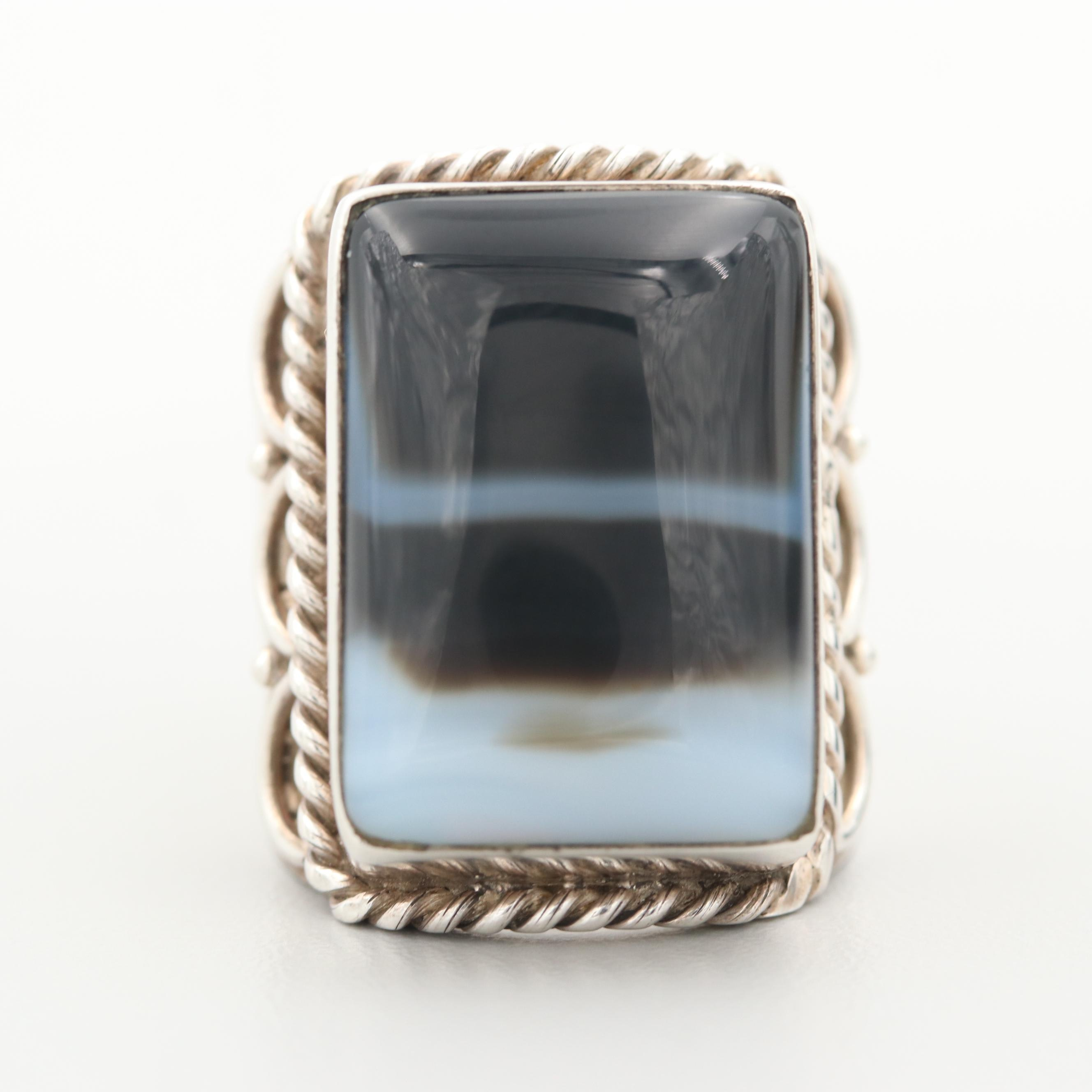 Sterling Silver Onyx Ring with Wirework Accents