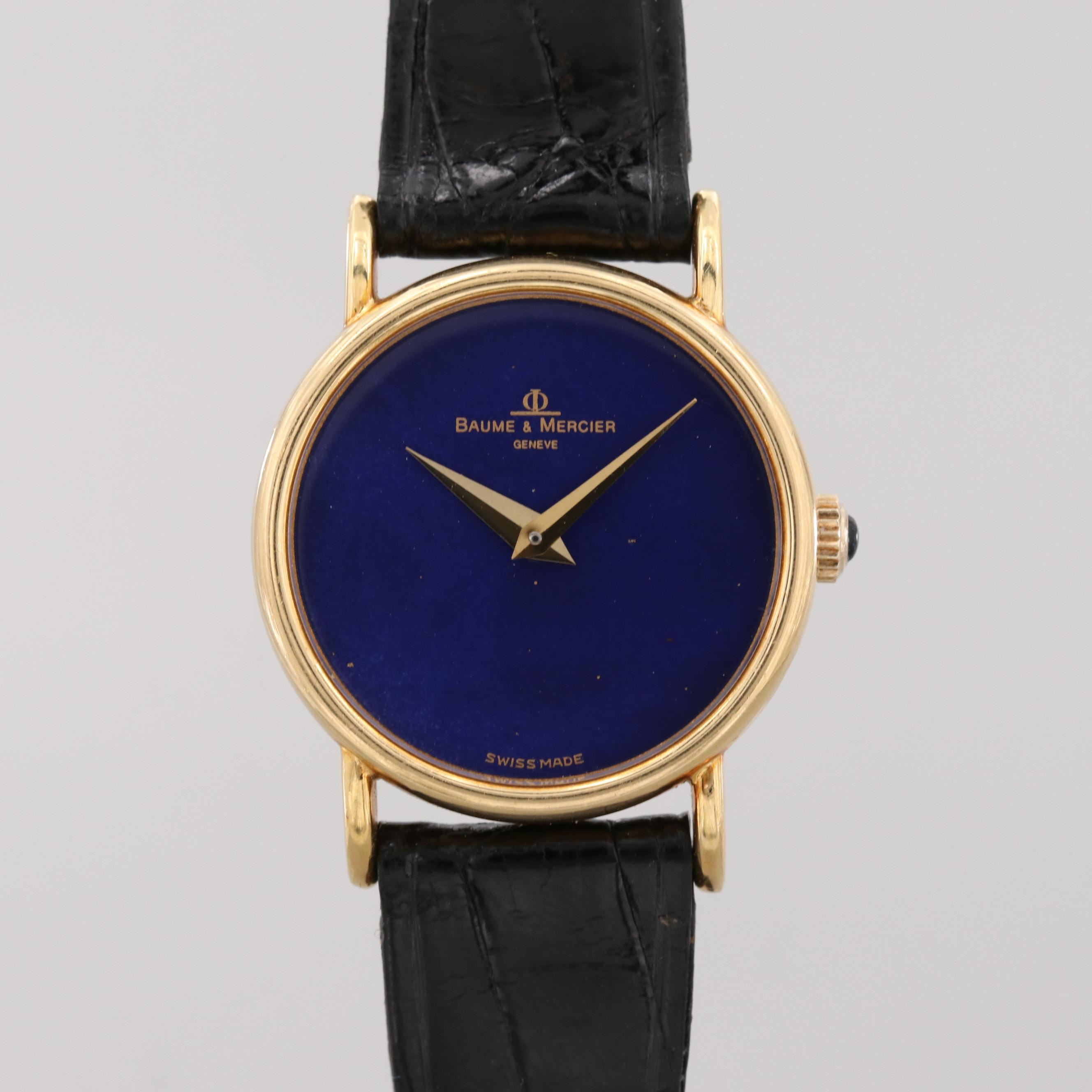 Baume & Mercier 18K Yellow Gold Wristwatch With Blue Lapis Lazuli Dial