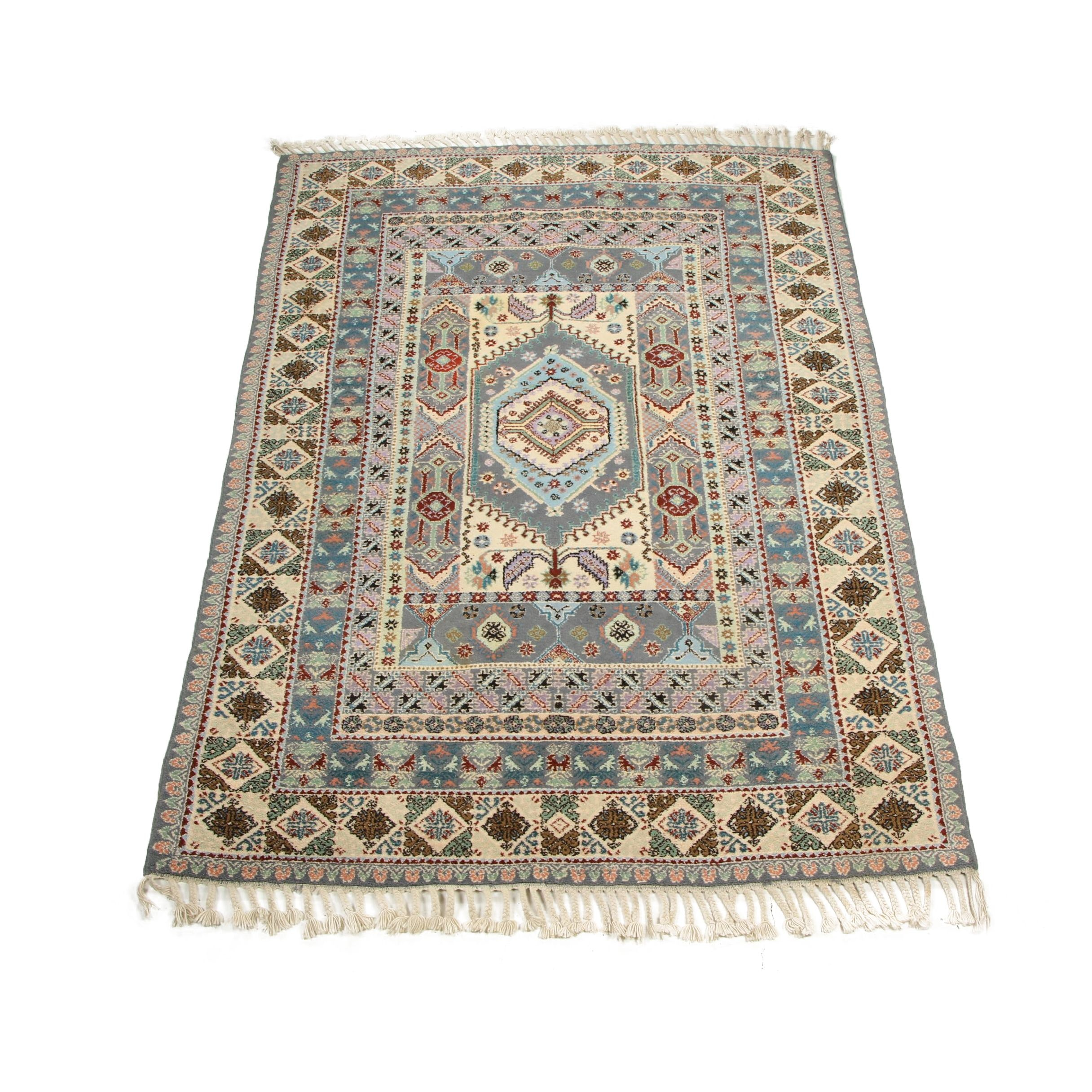 Hand-Knotted Moroccan Wool Rug with Braided Fringe