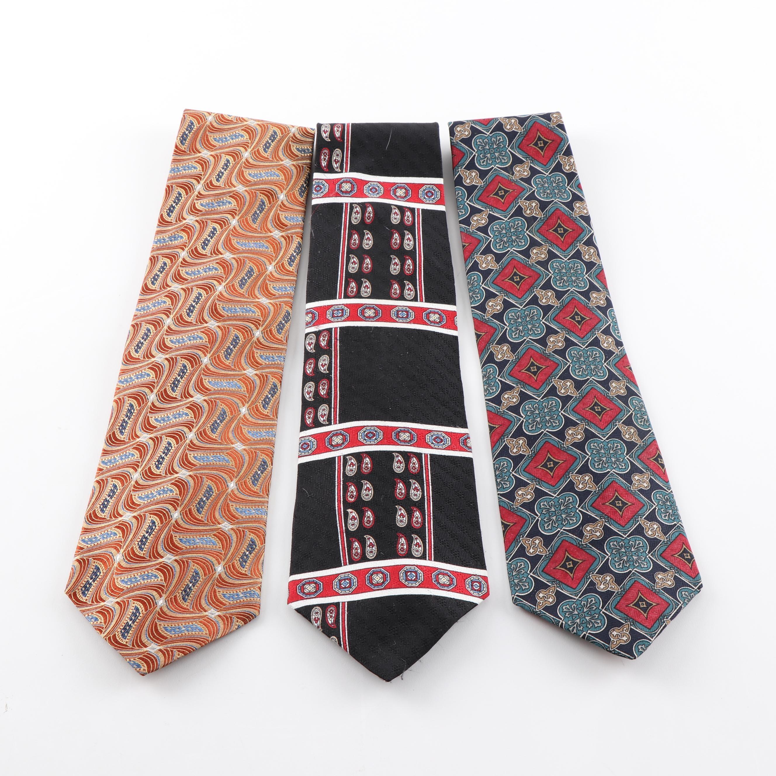 Men's Silk Neckties Featuring Oscar De La Renta and Christian Dior