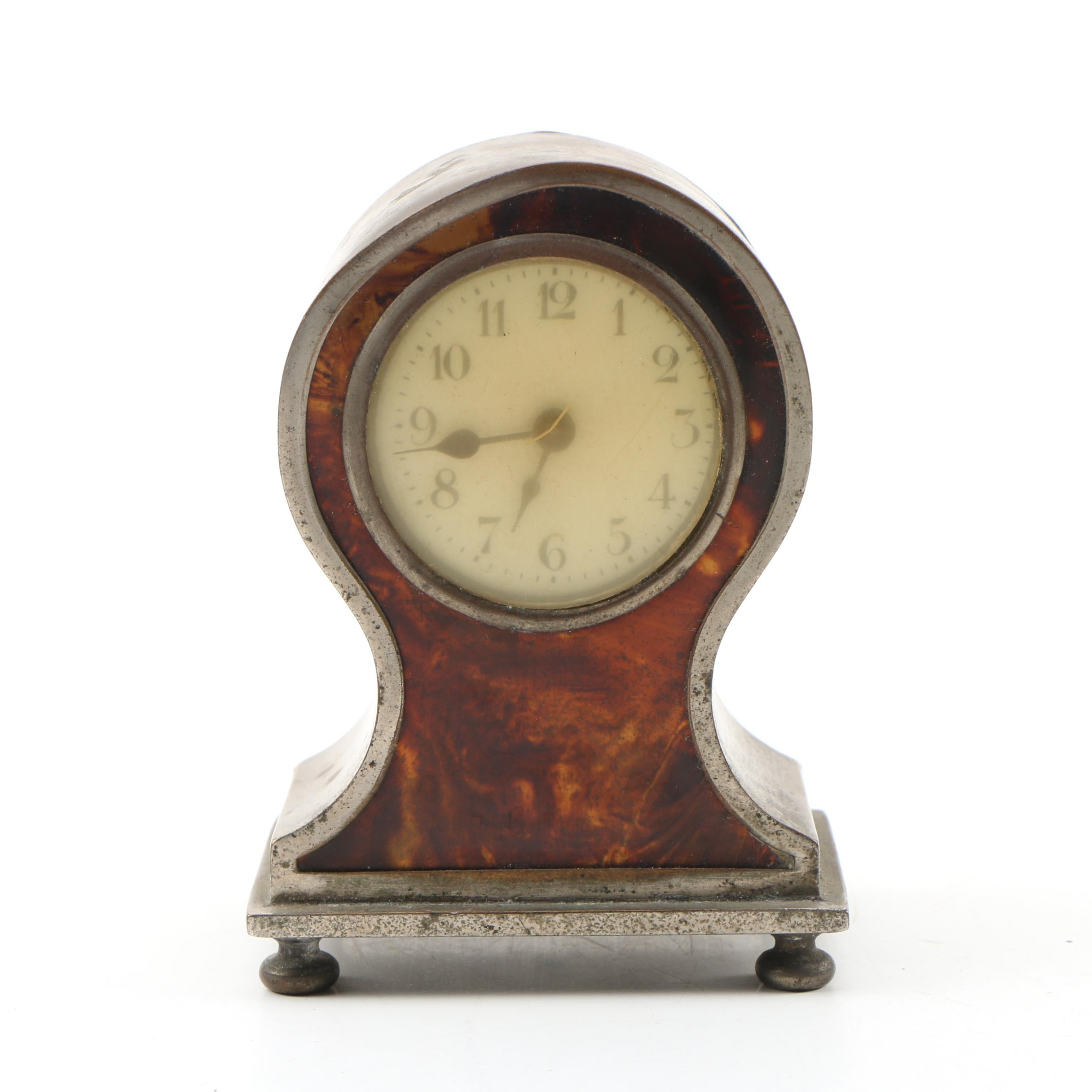 Faux Tortoiseshell and Metal Miniature Alarm Clock