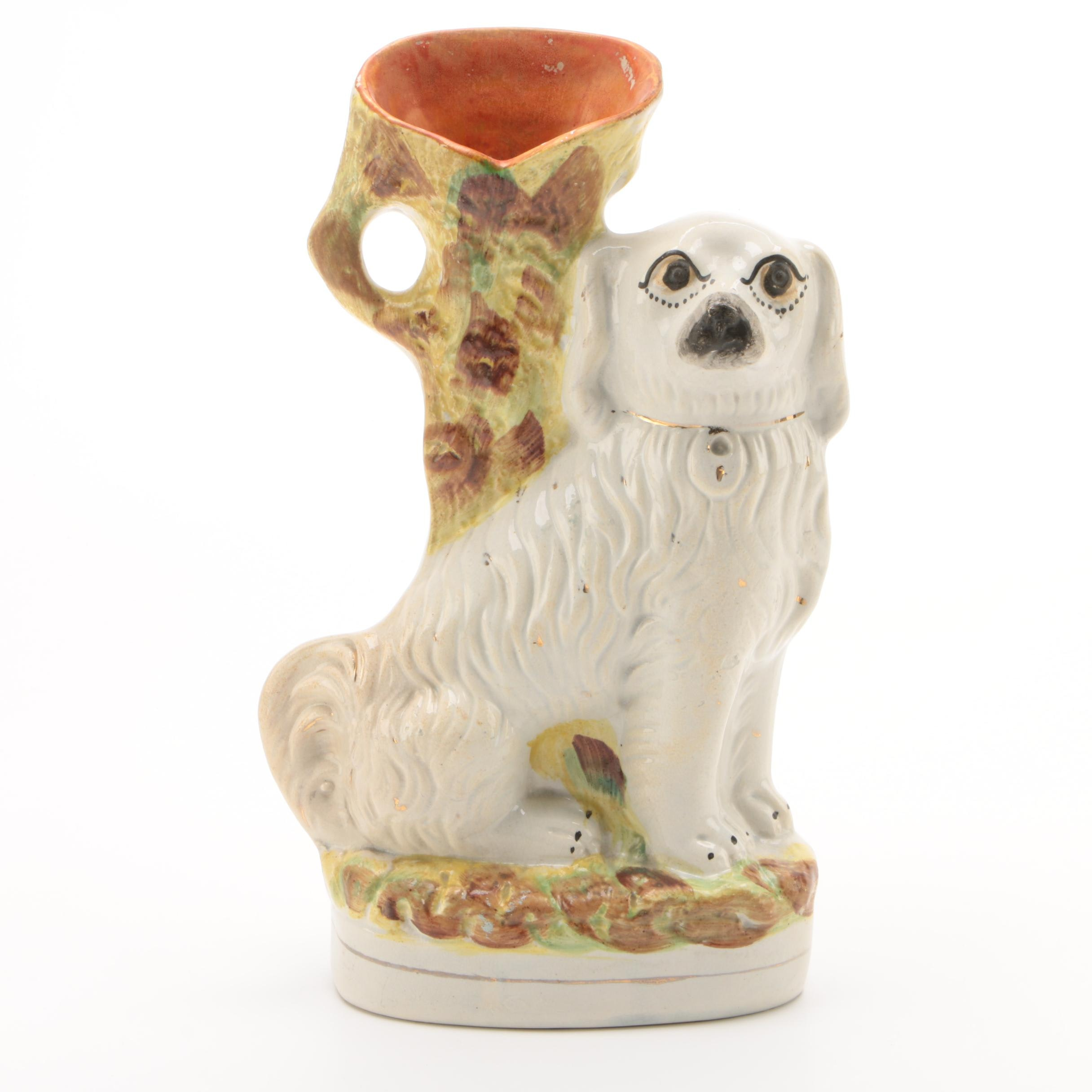 Staffordshire Style Earthenware Spaniel Vase, Early 20th Century