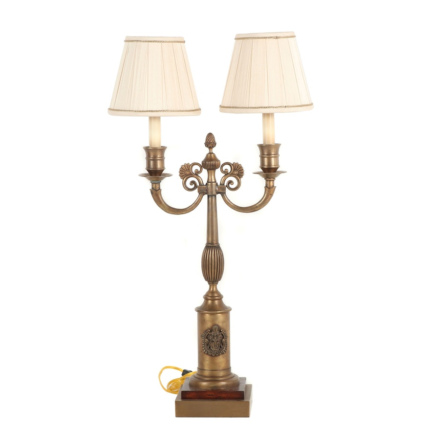 Empire Style Double Headed Br Table Lamp Attributed To Maitland Smith