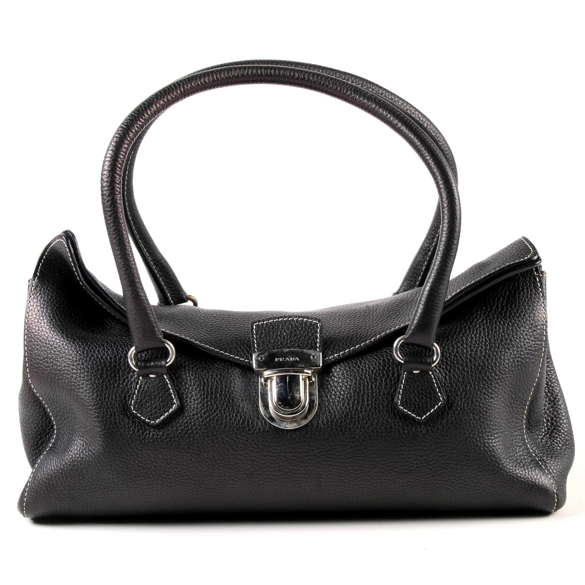 Prada East West Bag in Black Deerskin Leather with Push Lock Clasp