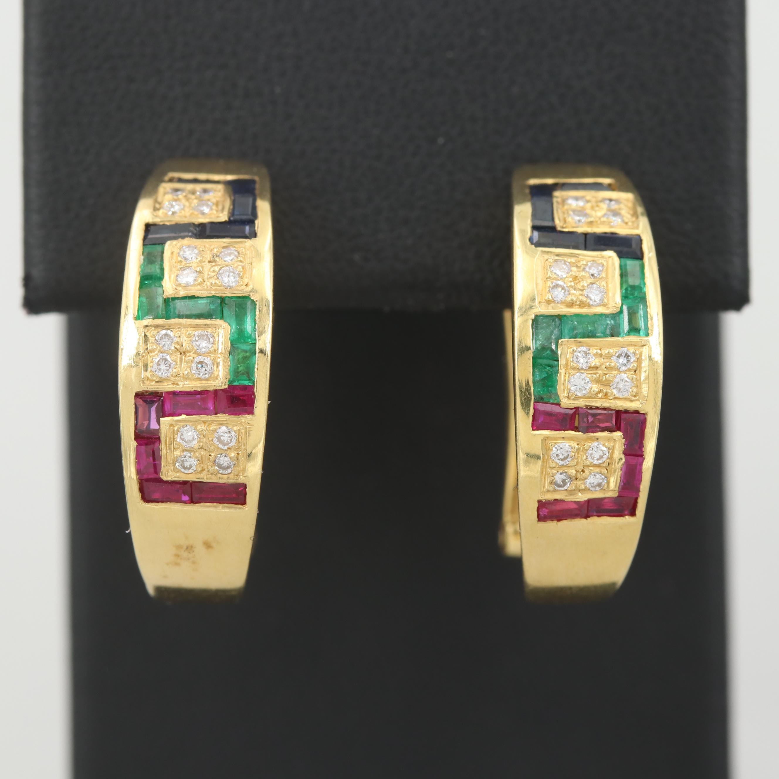 18K Yellow Gold Sapphire, Ruby, Emerald, and Diamond Earrings