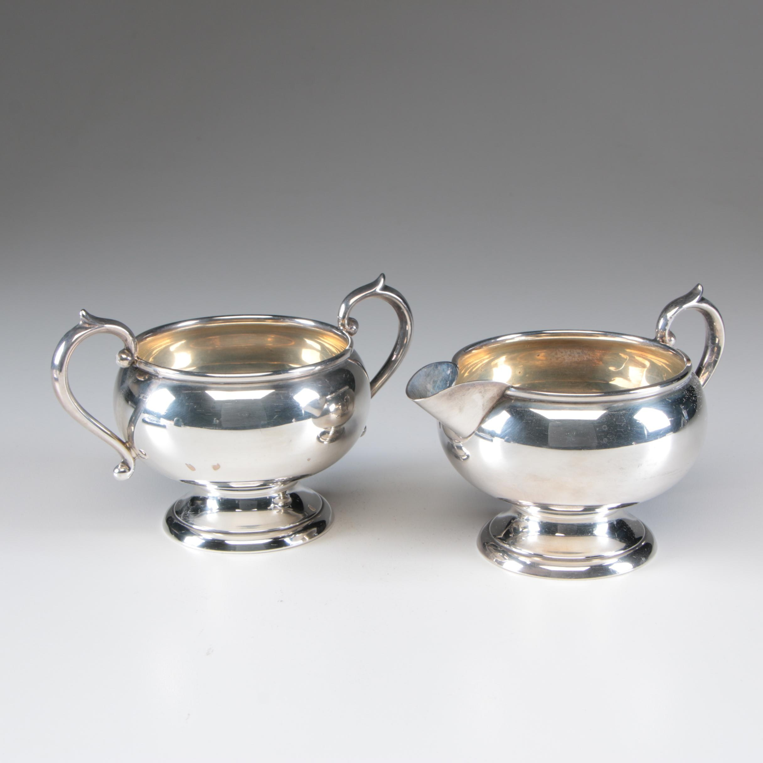 F. B. Rogers Silver Co. Sterling Silver Creamer and Open Sugar Bowl