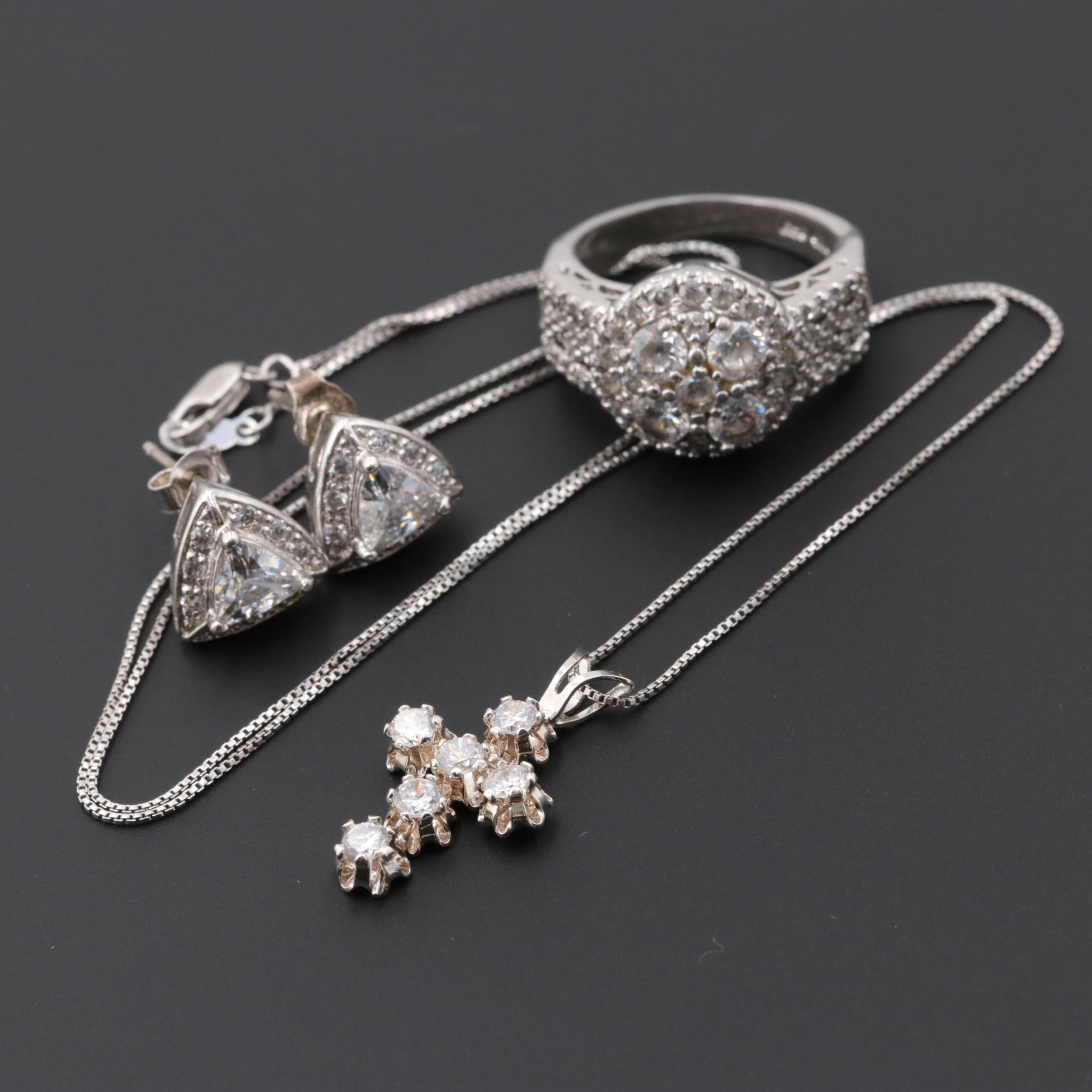 Sterling Silver Cubic Zirconia Necklace, Ring and Earrings