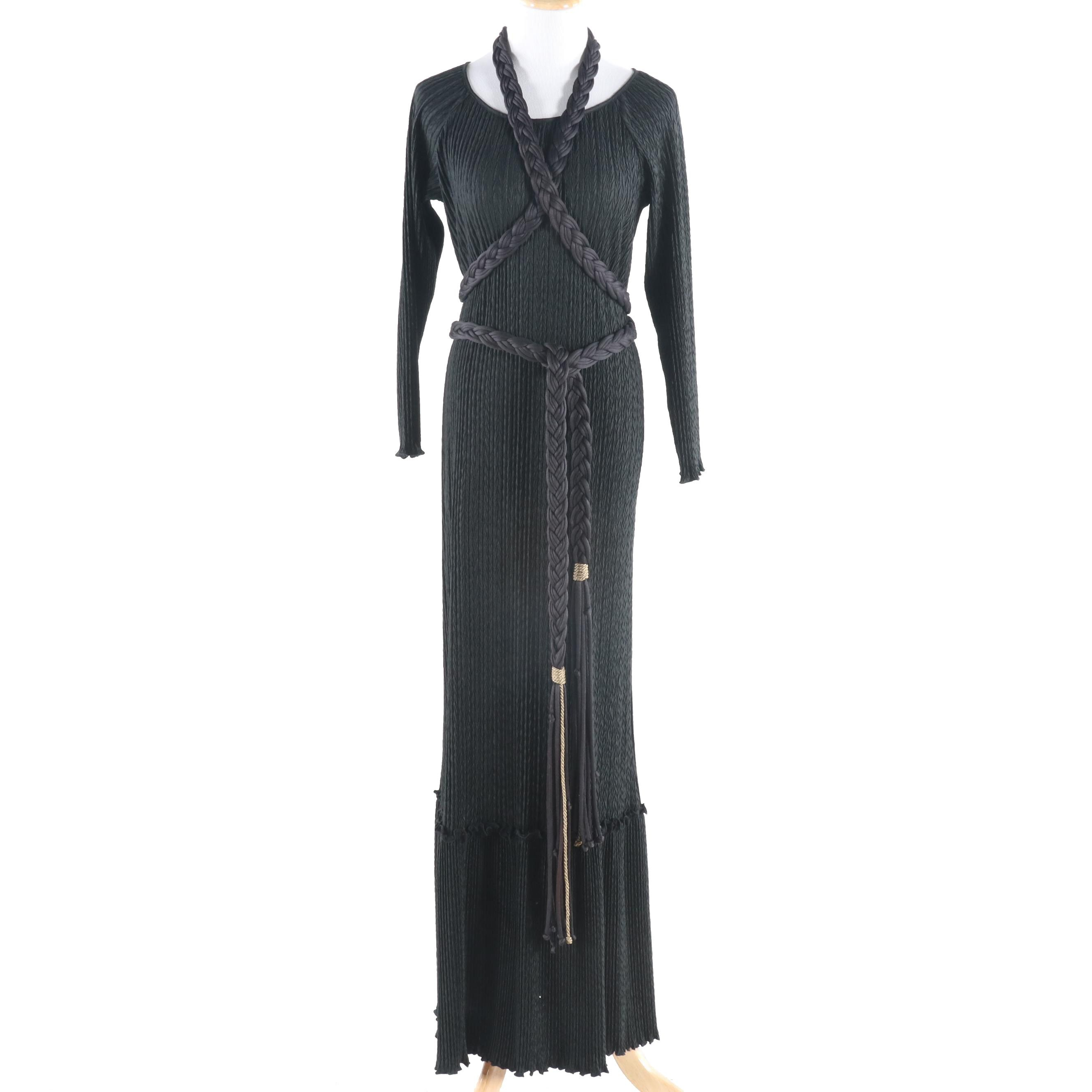 Mary McFadden Collection I Black Textured Plissé Gown with Braided Wrap