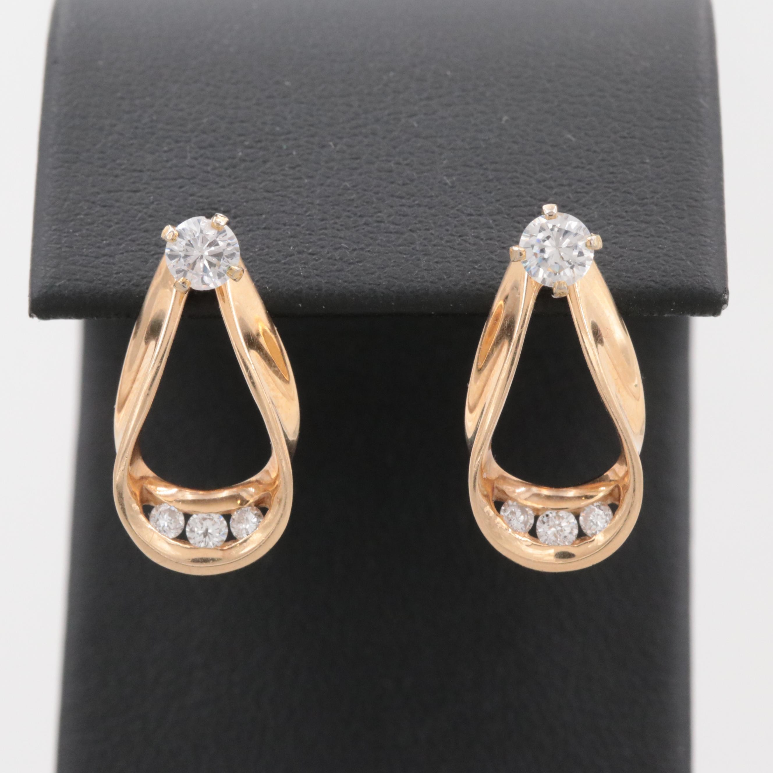 14K Yellow Gold and Gold Tone Earrings and Jackets