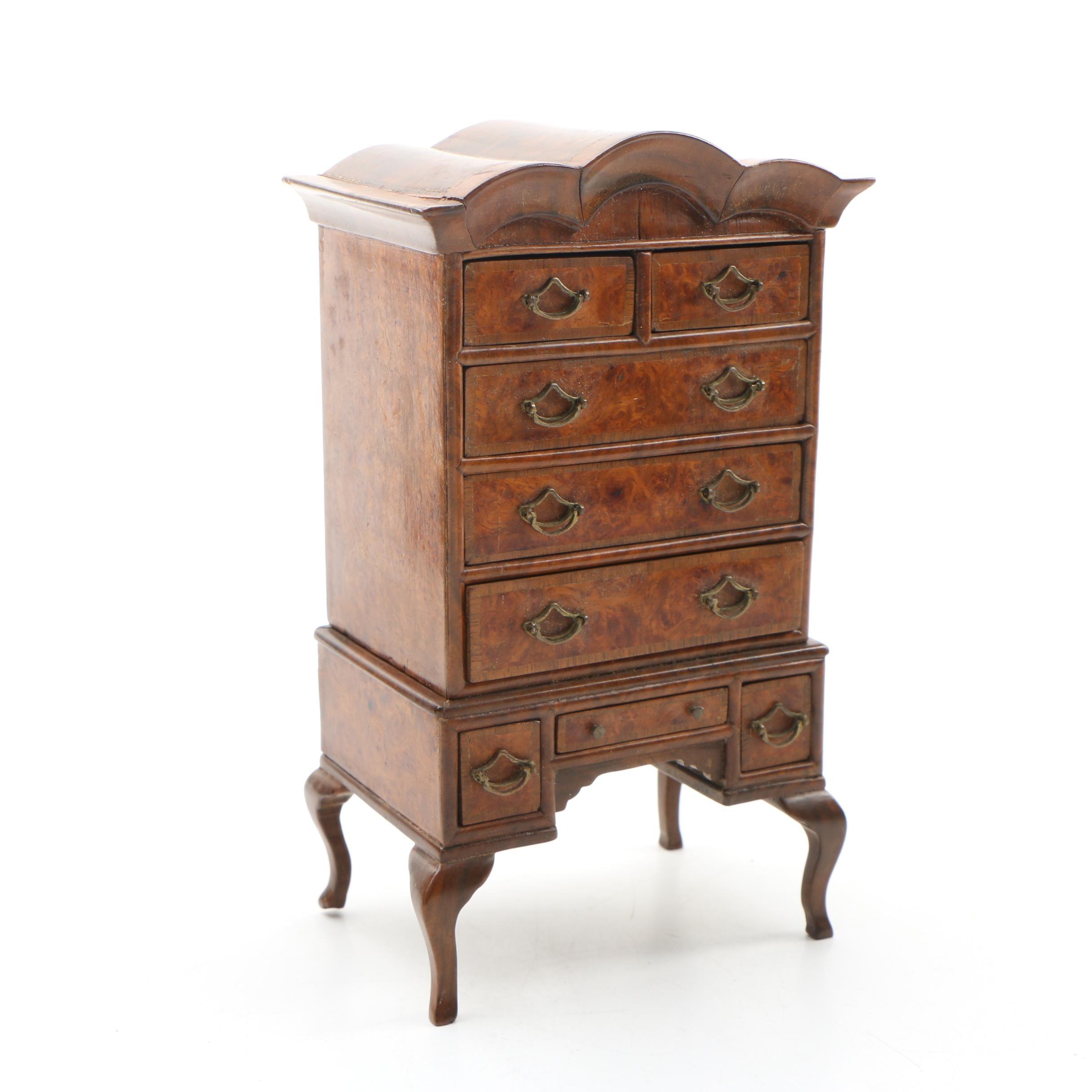 Handmade Miniature Queen Anne Style Burlwood Highboy Dresser