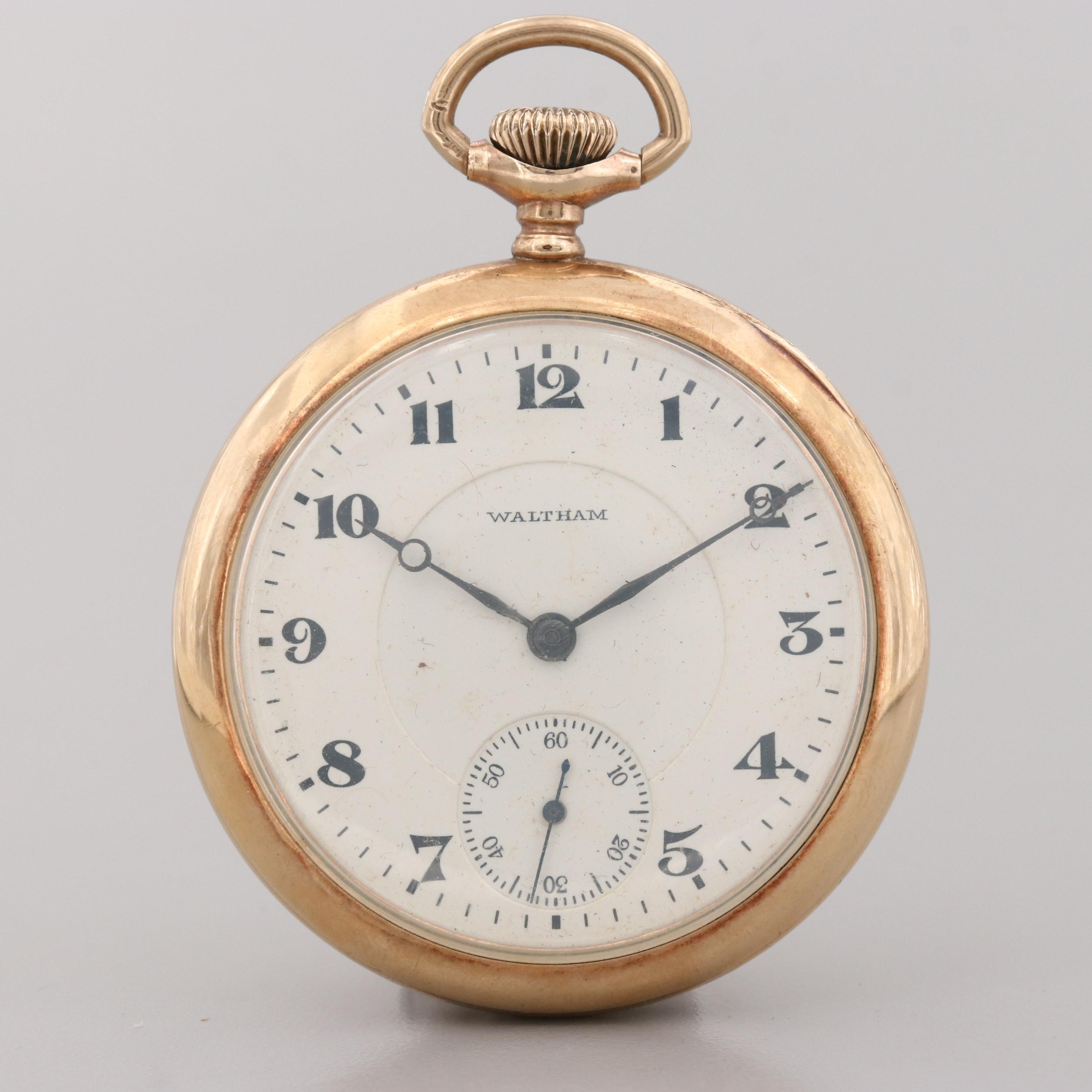 Vintage Waltham Gold Tone Open Face Pocket Watch, 1922