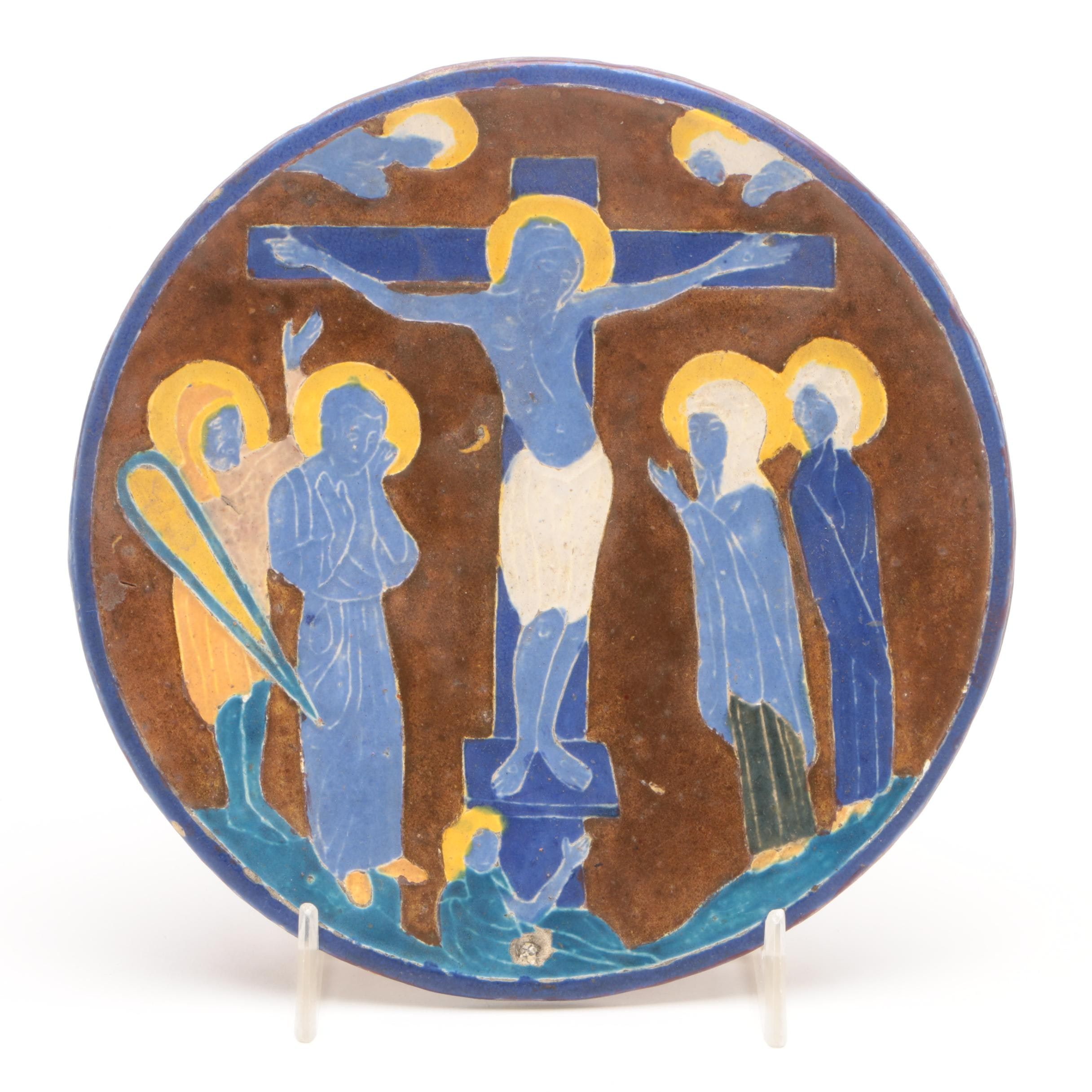 Signed Art Pottery Majolica Plate with Crucifixion Scene