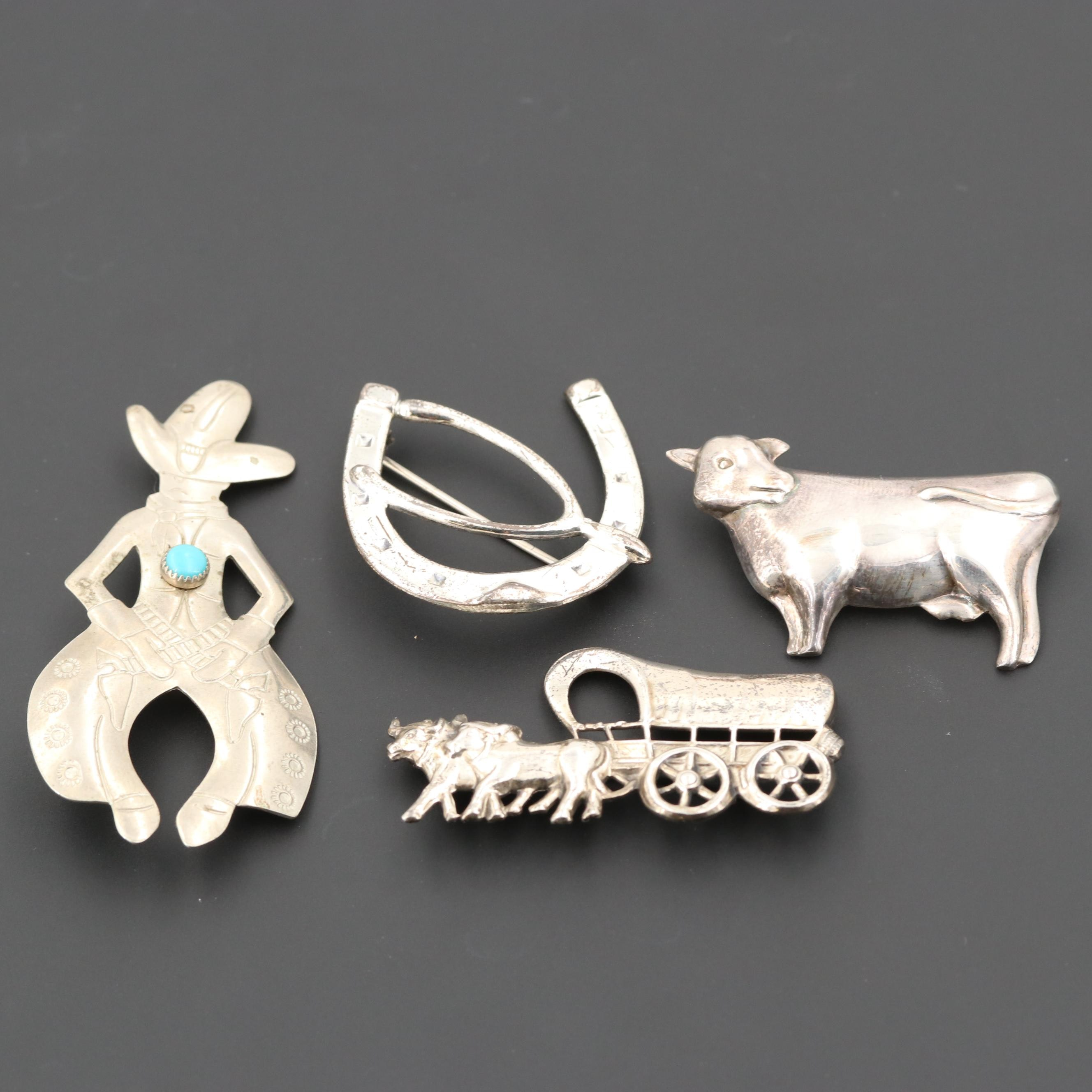 Western Themed Brooches Including Sterling Silver and Turquoise