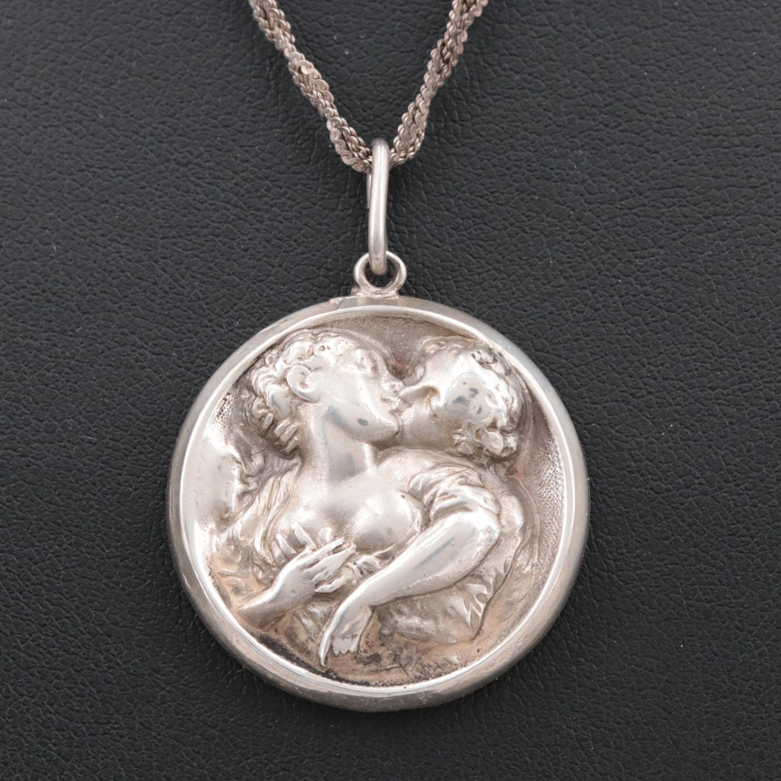 Sterling Silver High Relief Pendant Necklace