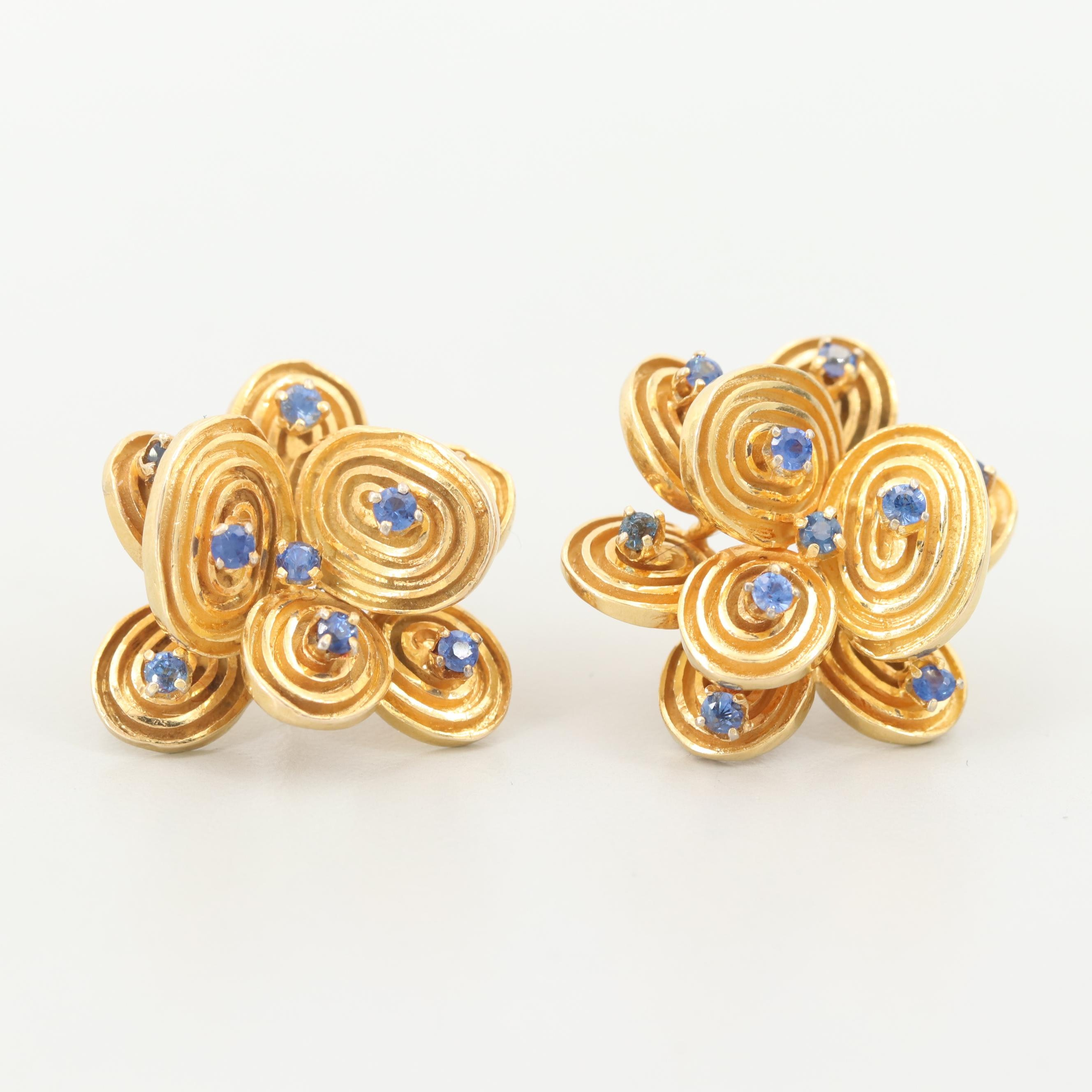 14K Yellow Gold Blue Sapphire Stylized Flower Earrings