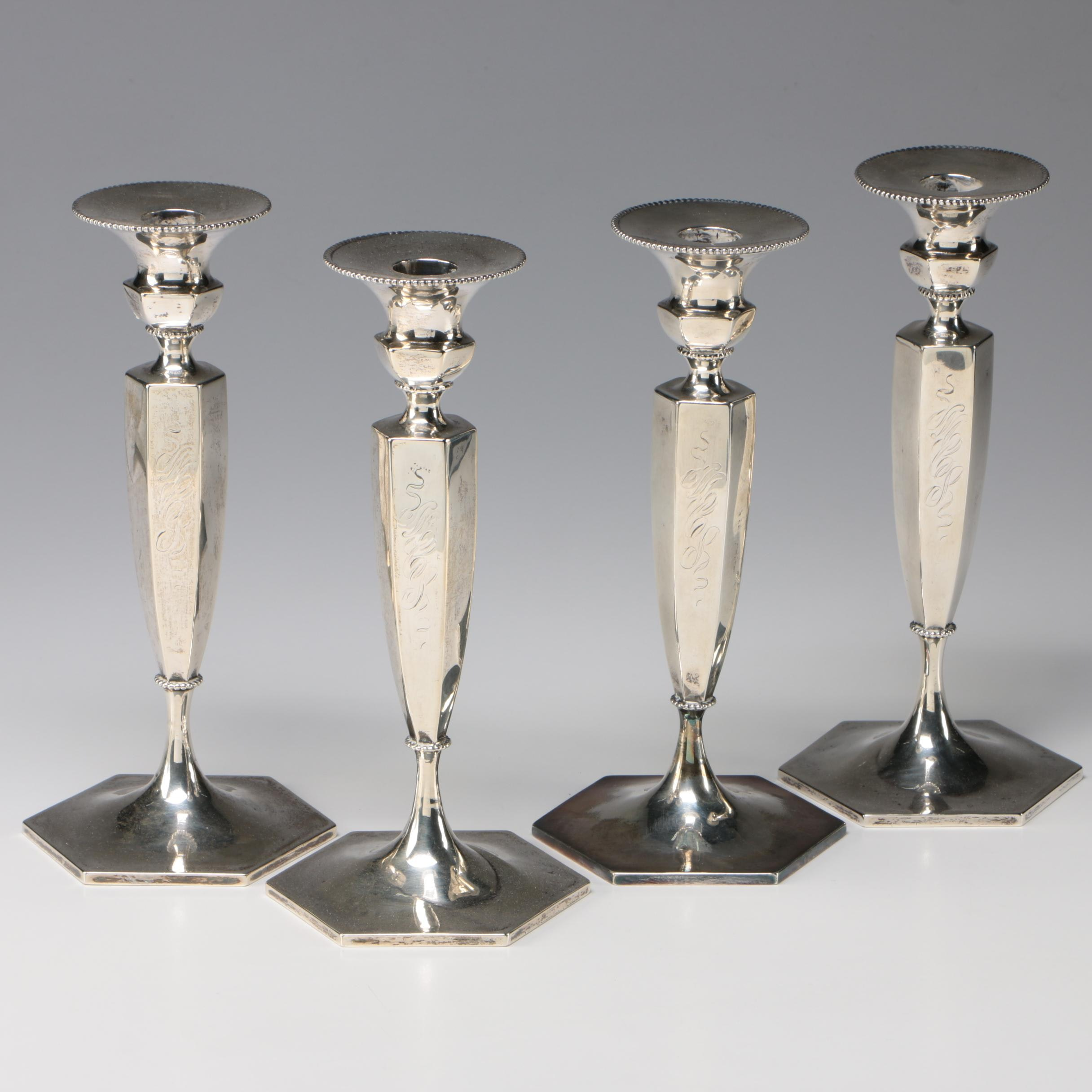 Empire Style Silver Plate Candlesticks