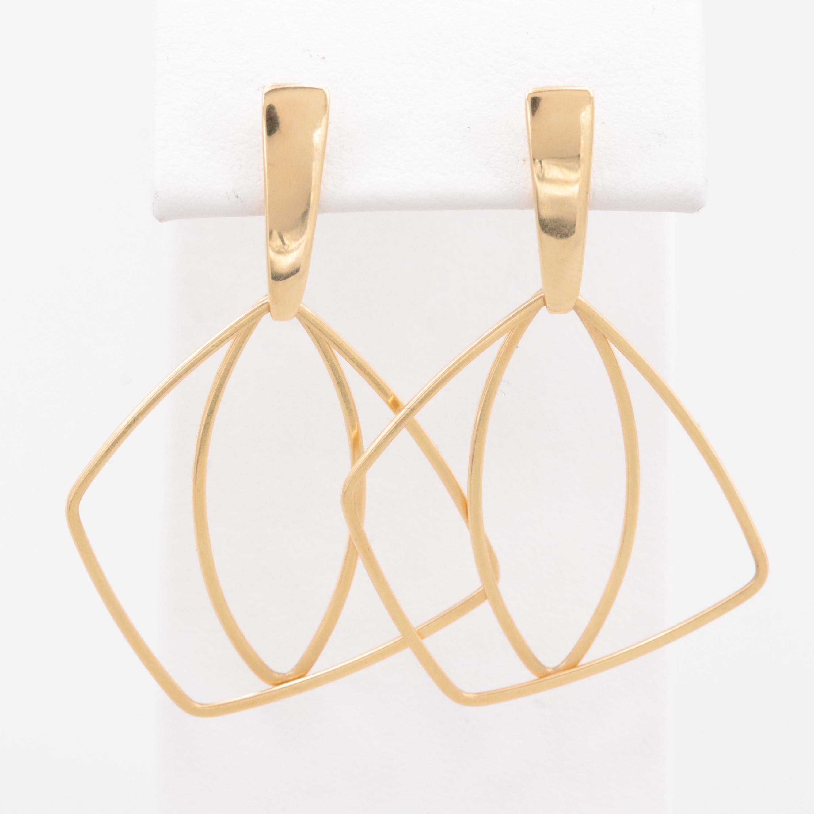 18K Yellow Gold Asymmetrical Earrings