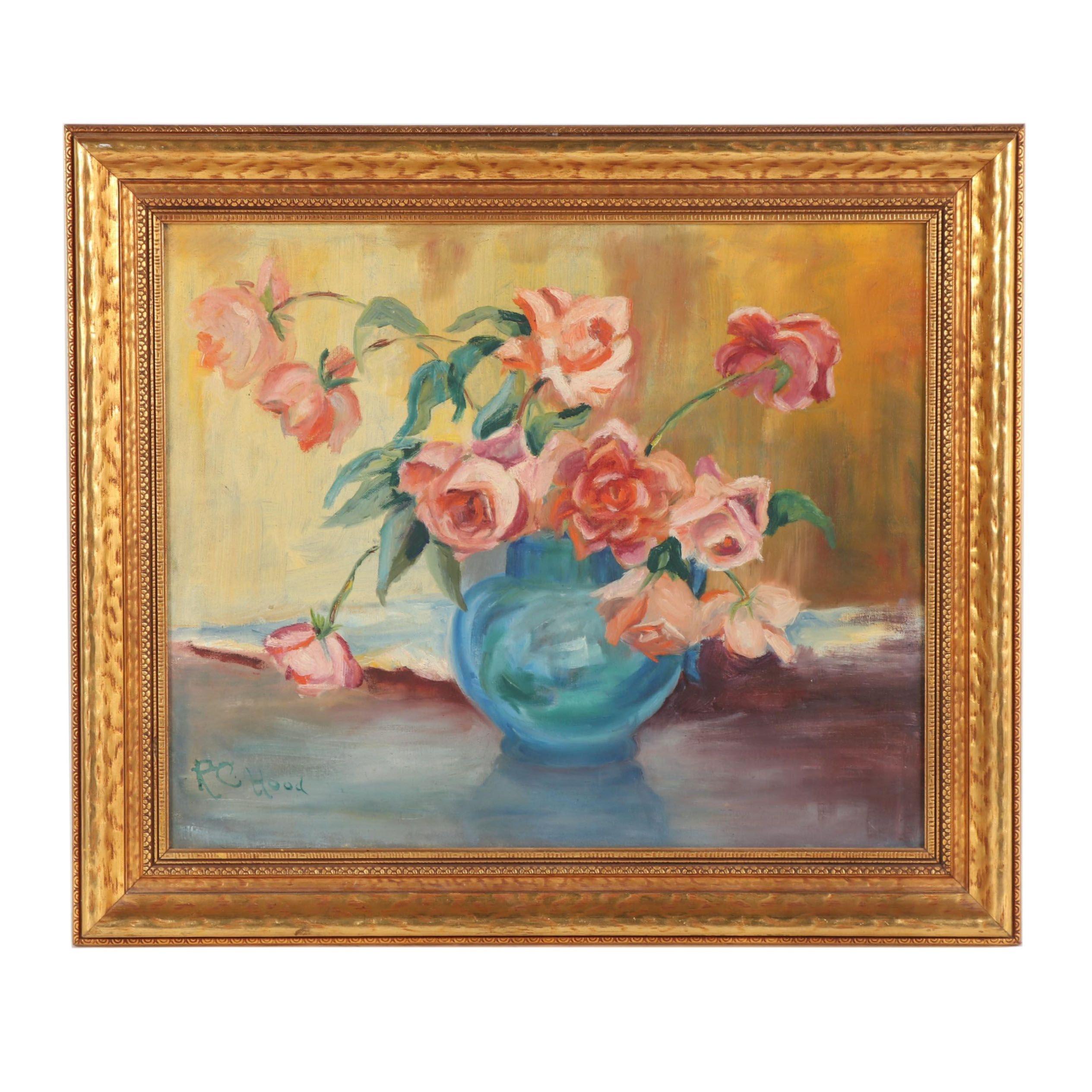 R.C. Hood Floral Still Life Oil Painting