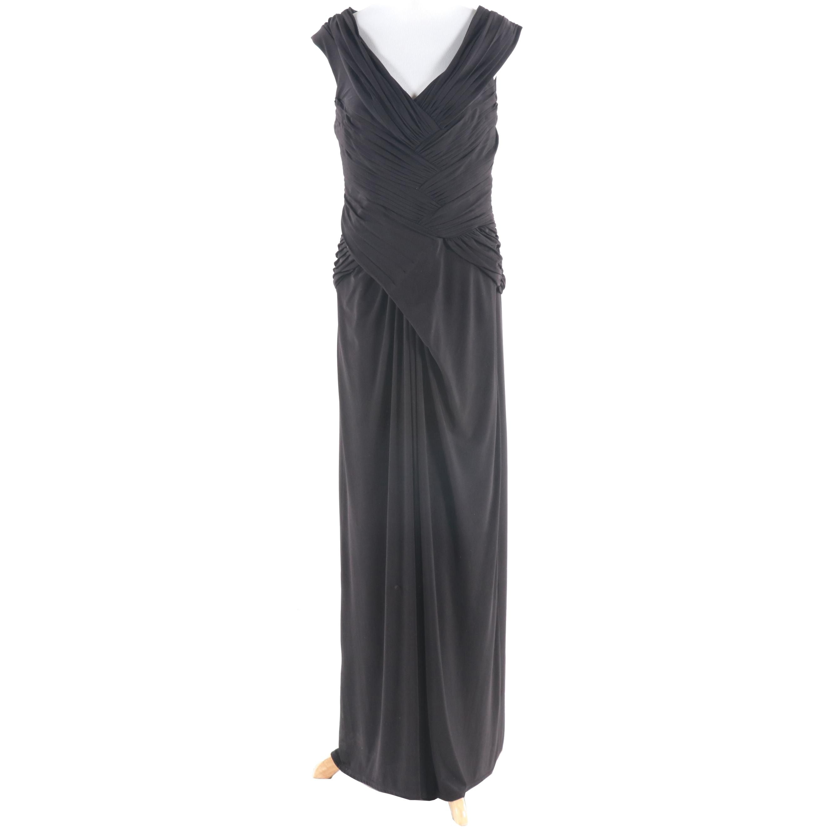 Tadashi Collection Black Ruched Evening Gown