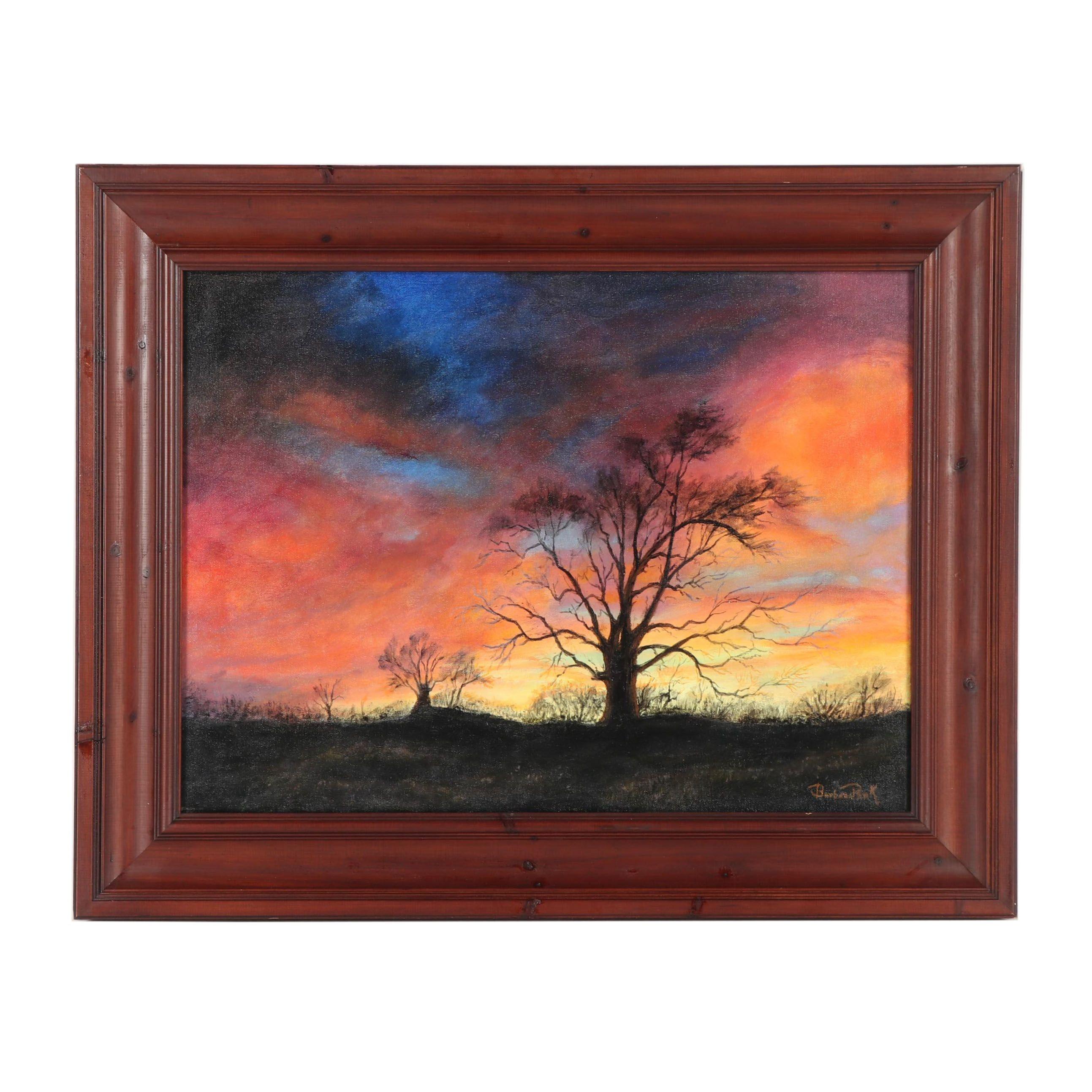Barbara Park Oil Painting of Tree Silhouette