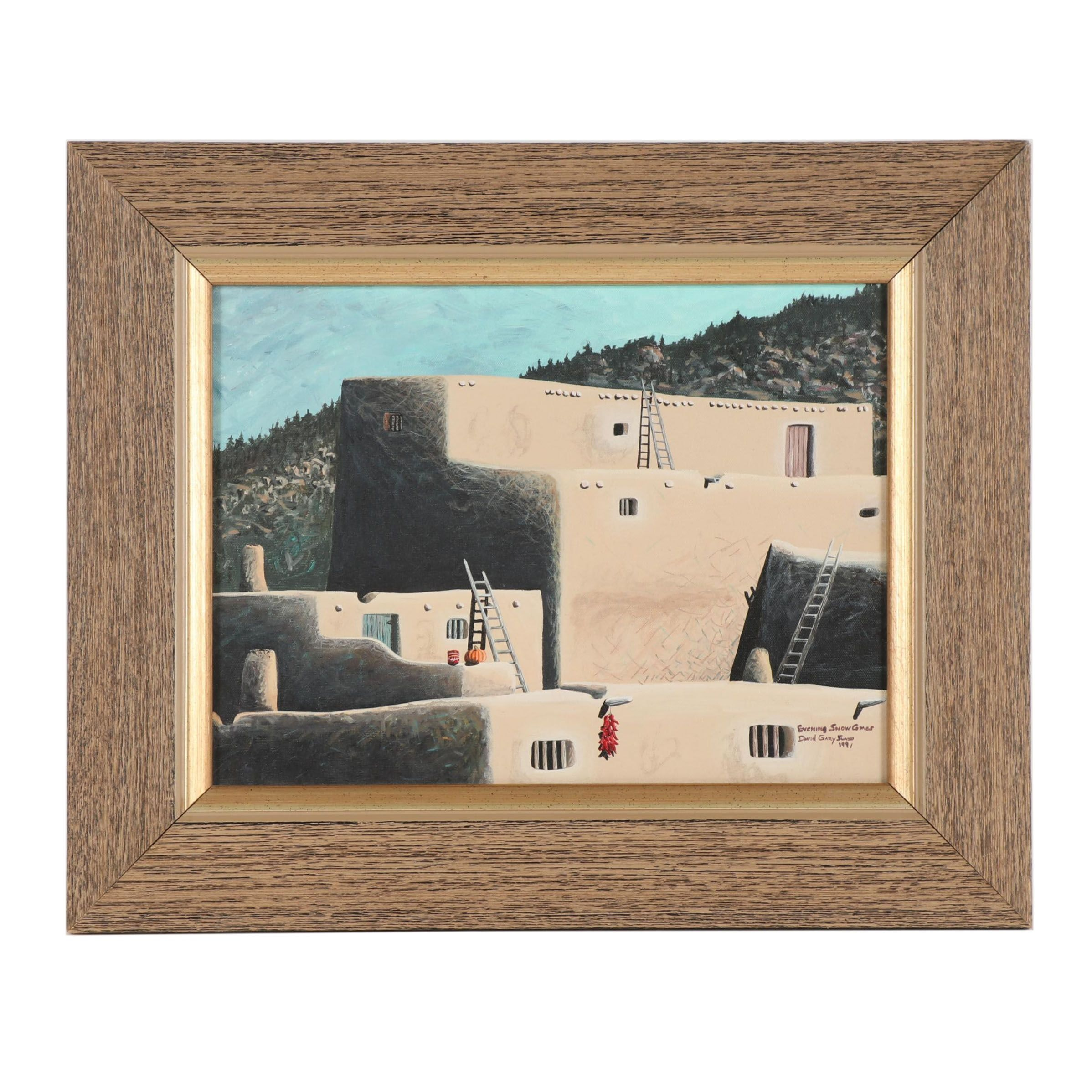 "David Gary Suazo Oil Painting ""Evening Snow Games"""