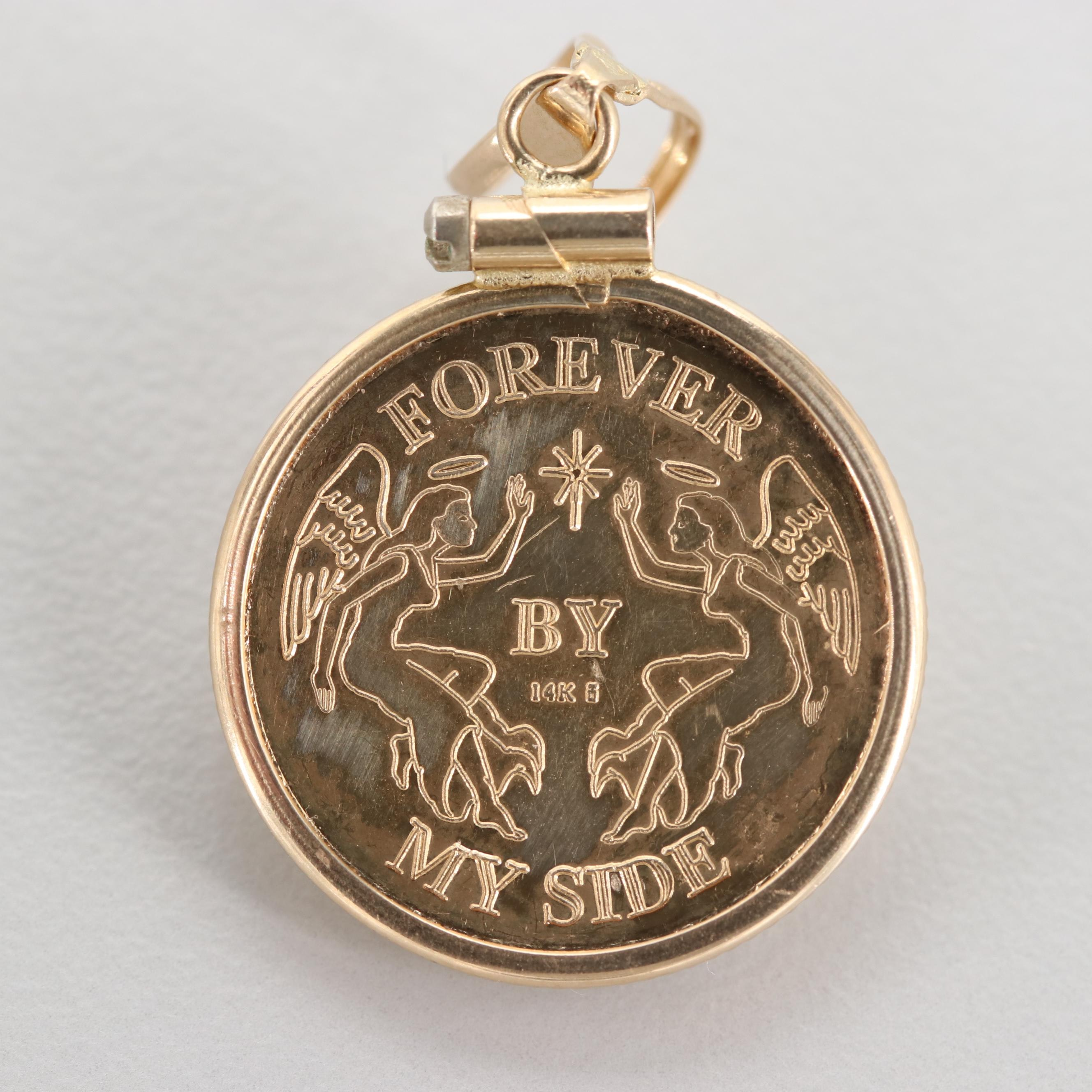 14K Yellow Gold Mother and Child Pendant