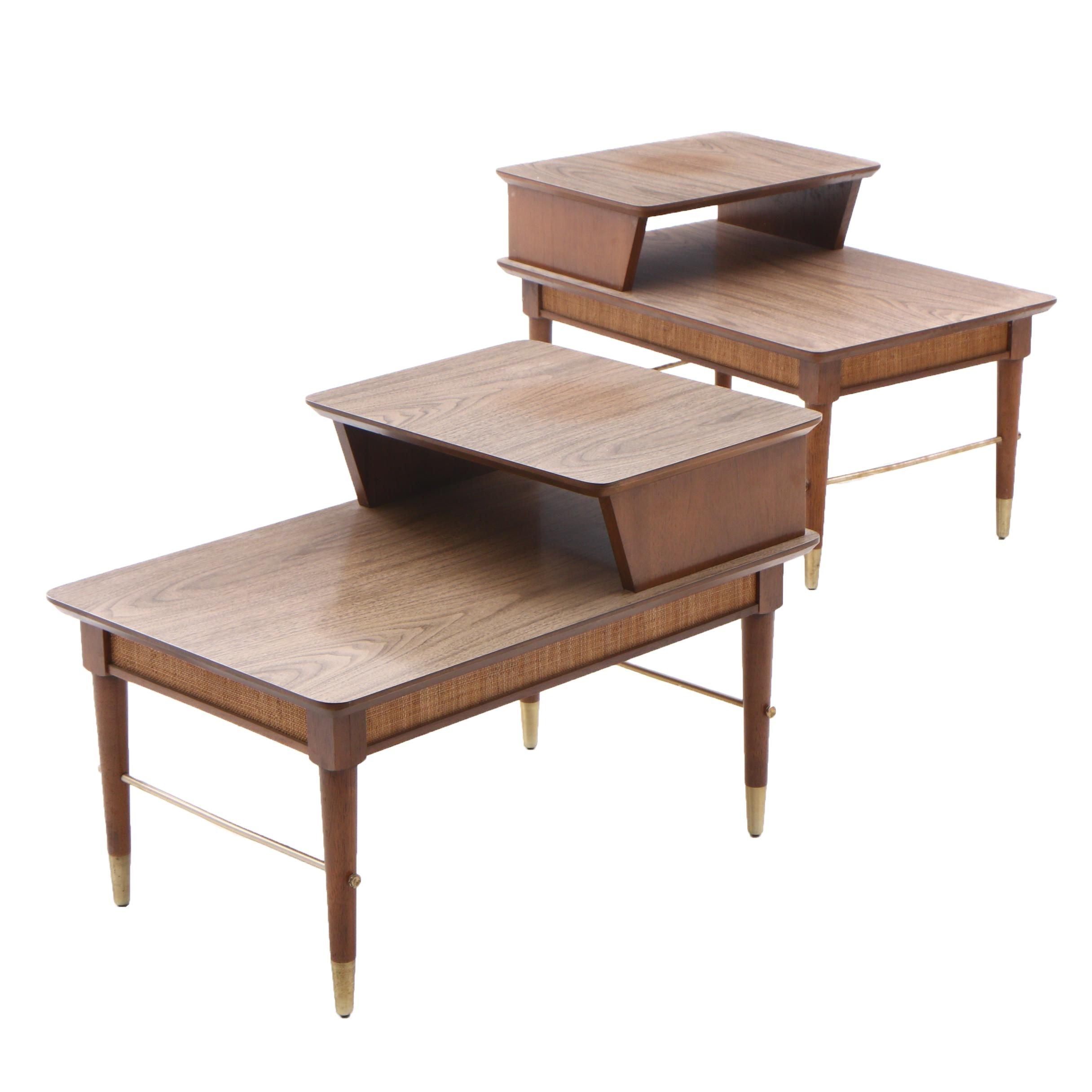 Mid Century Modern Walnut and Walnut Laminate End Tables