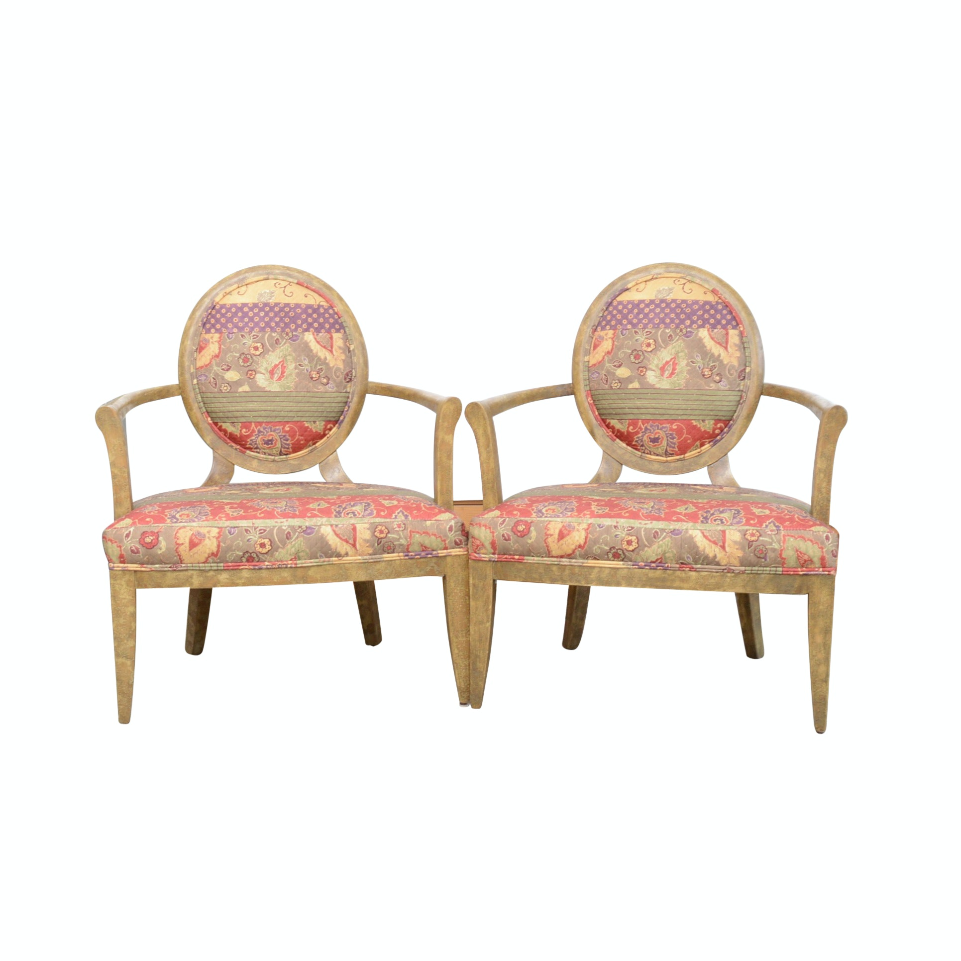 Pair of Custom Upholstered Balloon Back Chairs