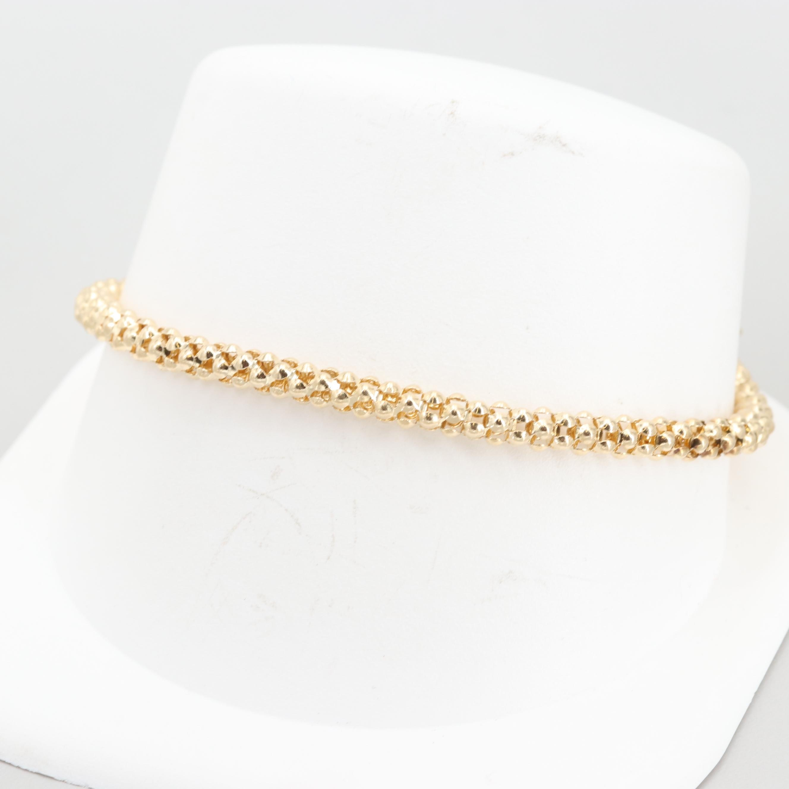 14K Yellow Gold Popcorn Chain Bracelet