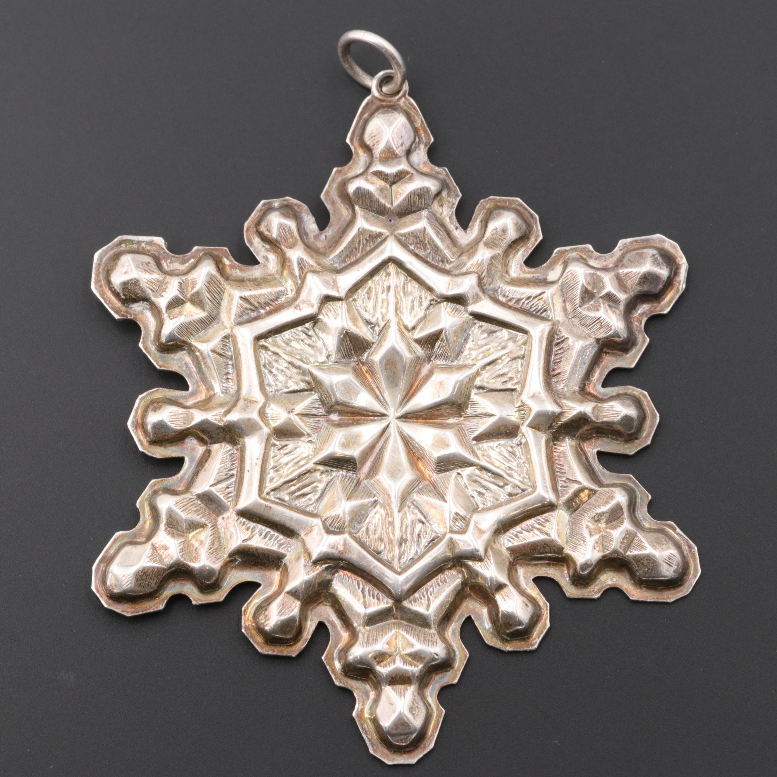 Circa 1971 Gorham Sterling Silver Snowflake Christmas Ornament
